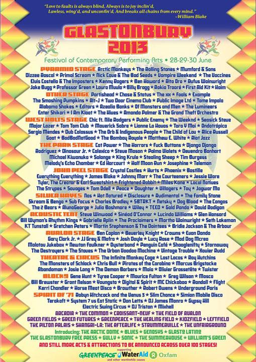 <グラストンベリー・フェスティバル>開催。ウェブキャストで豪華ラインナップを堪能しよう! news130416_glast_lineup