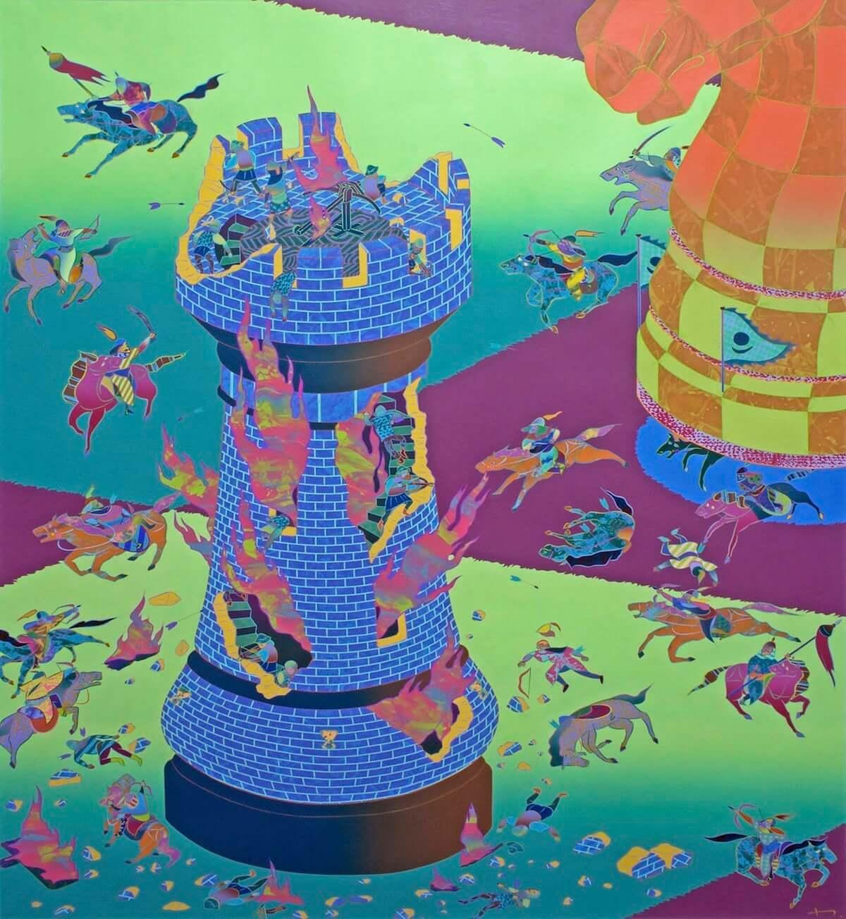 一林保久道|動的で日本的、奇抜で皮肉、摩訶不思議な注目ペインターの初インタビュー art-culture181115-anagra-hokuto-ichibayashi-melee-close-in-4-1200x1304