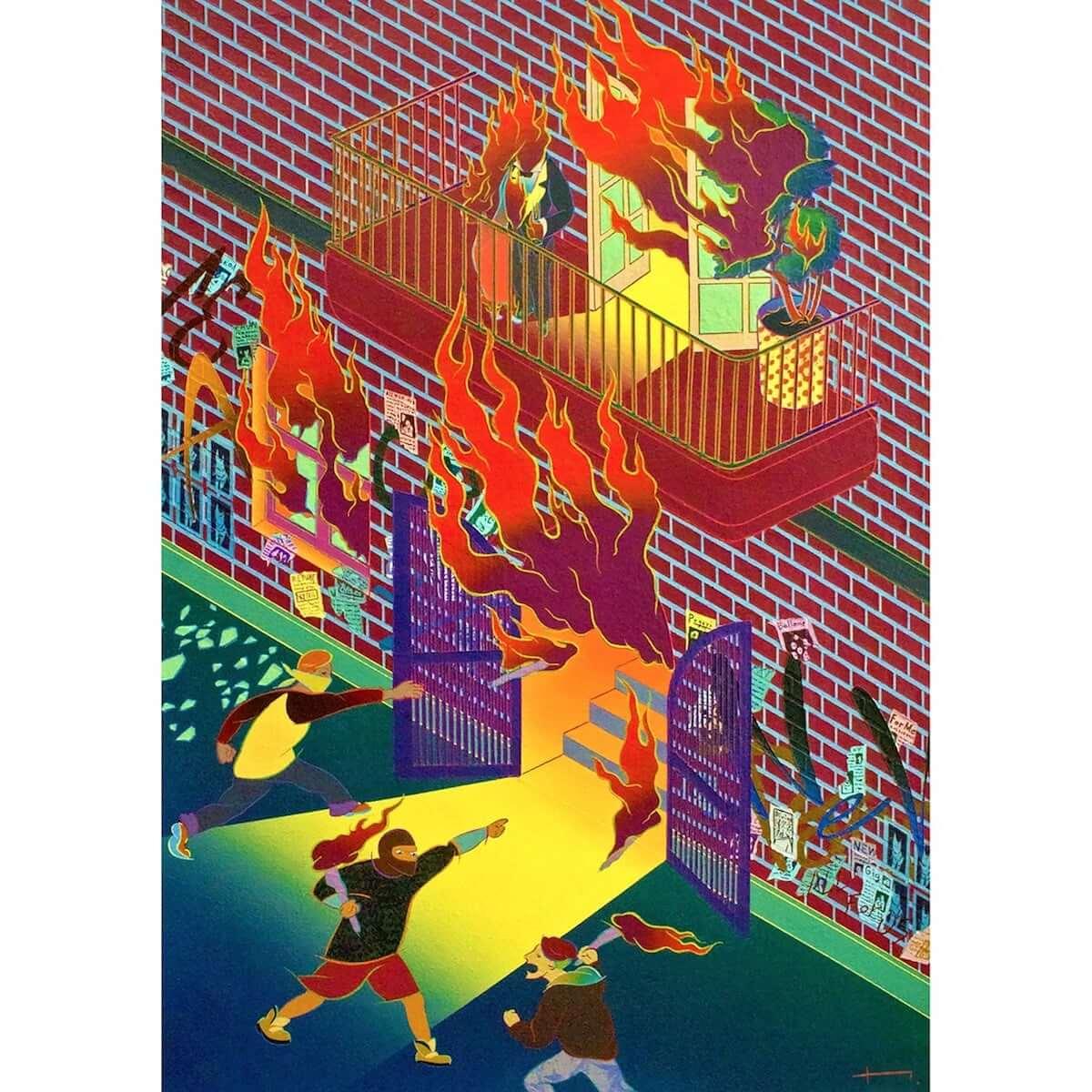 一林保久道|動的で日本的、奇抜で皮肉、摩訶不思議な注目ペインターの初インタビュー art-culture181115-anagra-hokuto-ichibayashi-melee-close-in-8-1200x1200