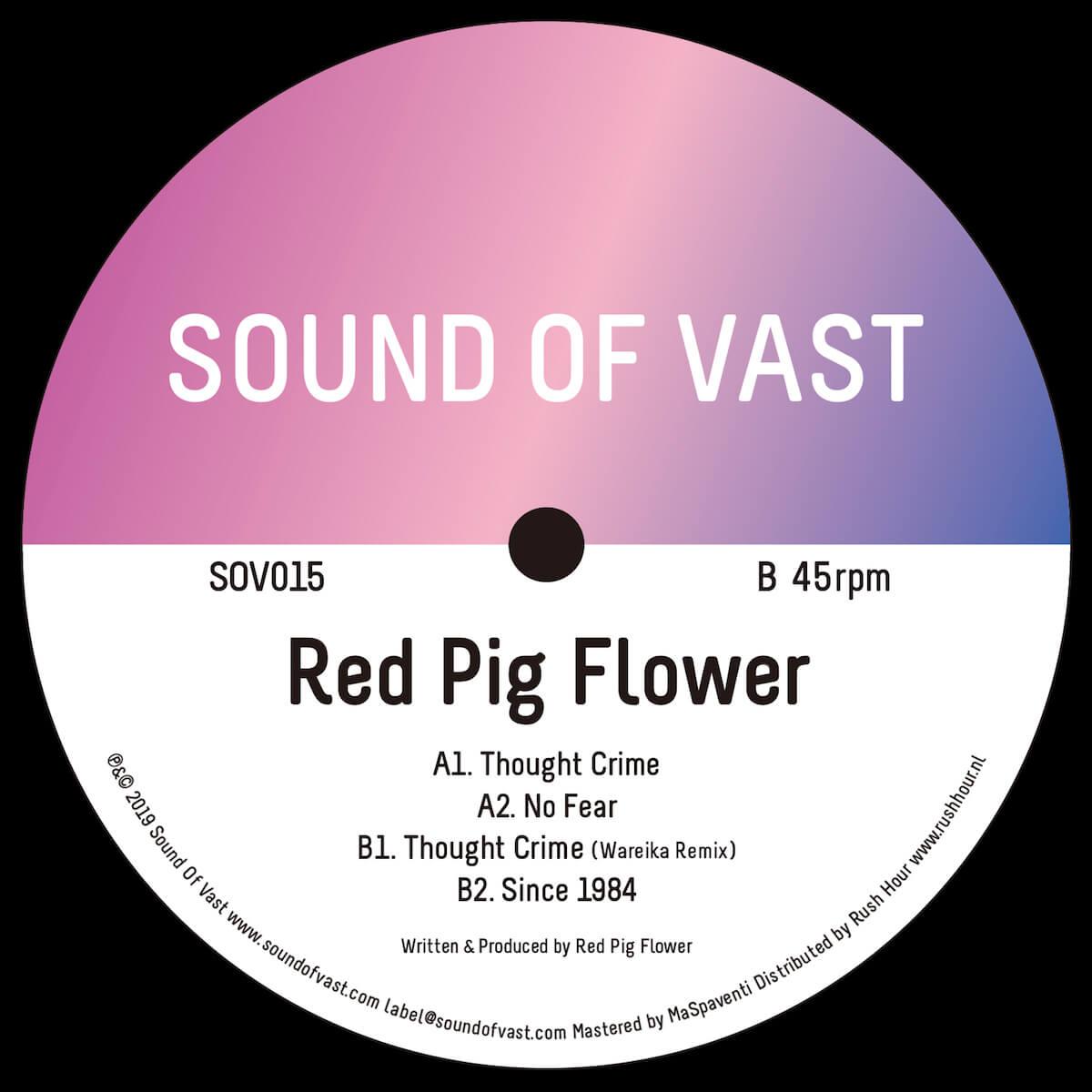 〈Sound Of Vast〉2019年初リリースはボス・Red Pig Flowerの最新EP『Thought Crime』|リミキサーは〈Perlon〉等でおなじみの人気トリオWareika music190110-soundofvast-2