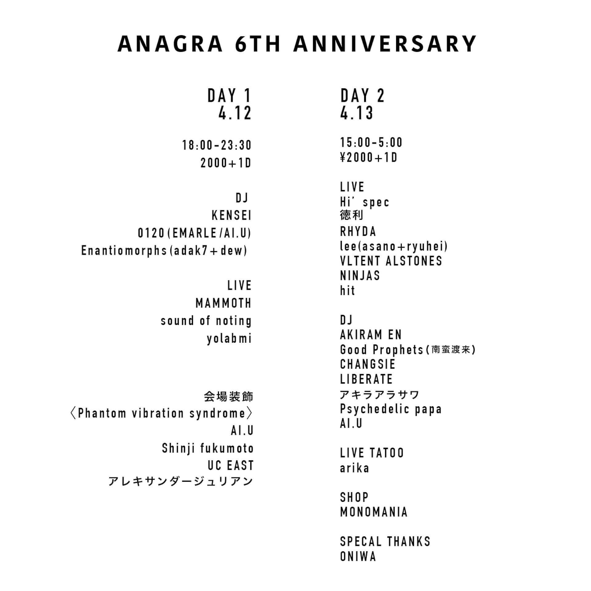 ANAGRAが6周年アニバーサリーで目にも耳にも心にも刺激的な2日間をお届け art-culture190401-anagra-7