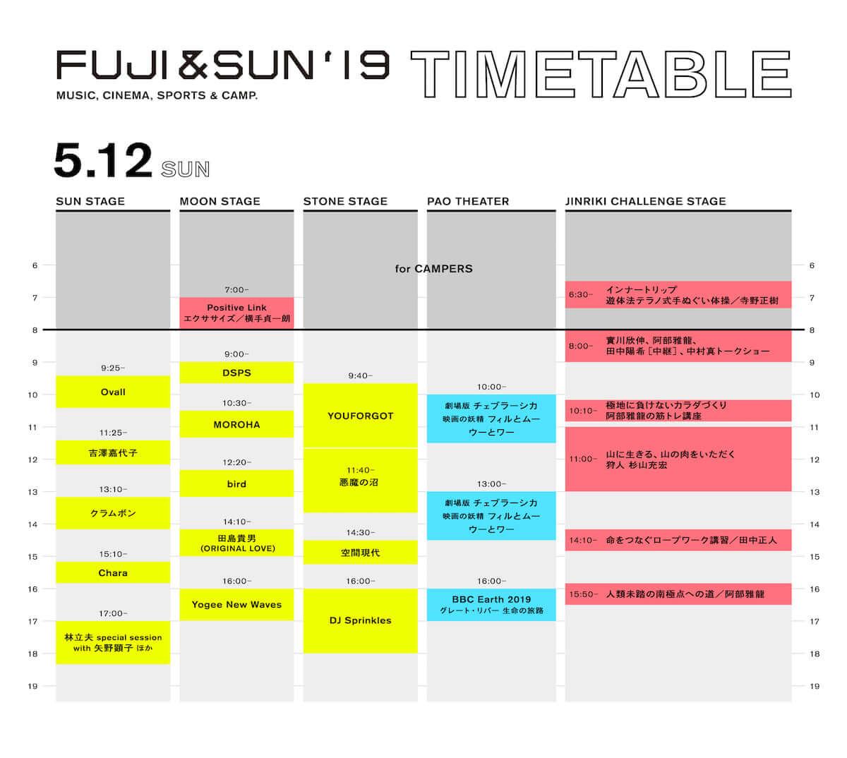 WOWOW初のフェス<FUJI&SUN '19>最終ラインナップとタイムテーブルが発表!D.A.N.、やけのはらなどが追加 music190403_fujiandsun_6-1200x1074