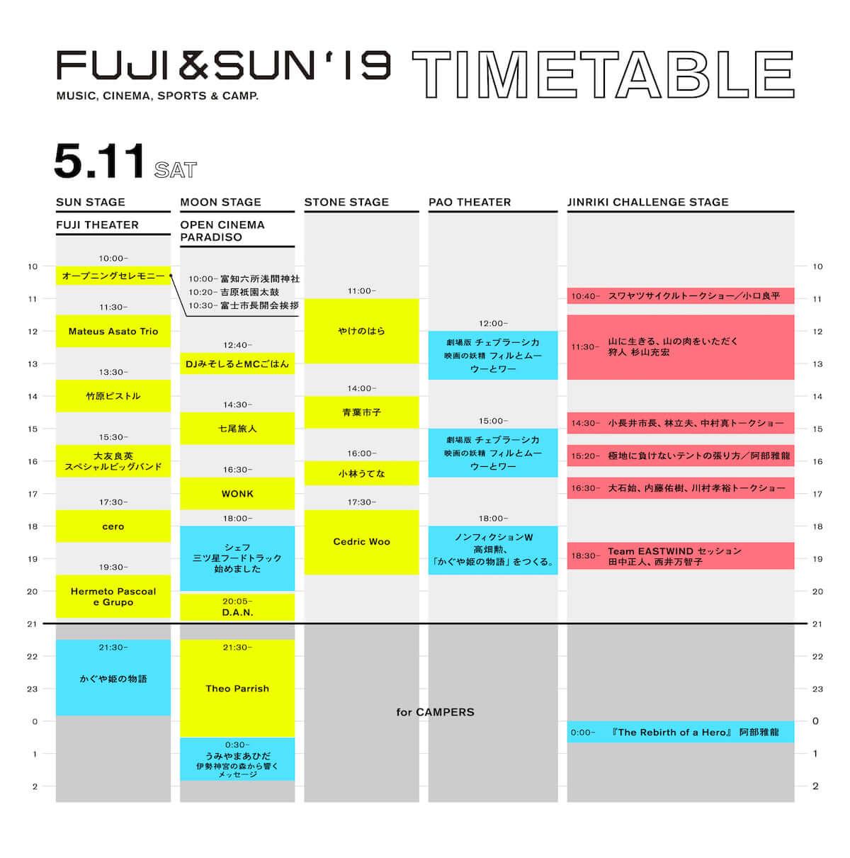 WOWOW初のフェス<FUJI&SUN '19>最終ラインナップとタイムテーブルが発表!D.A.N.、やけのはらなどが追加 music190403_fujiandsun_5-1200x1211