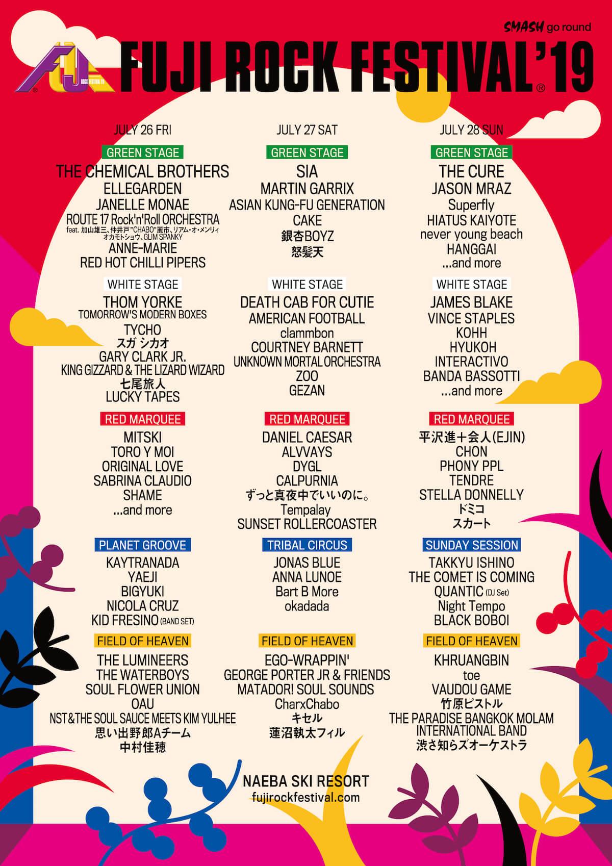 <フジロック2019>にハイエイタス・カイヨーテ、QUANTIC、Black Boboiら128組が追加!ステージ割りも発表 music190531_fujirockfestival_2
