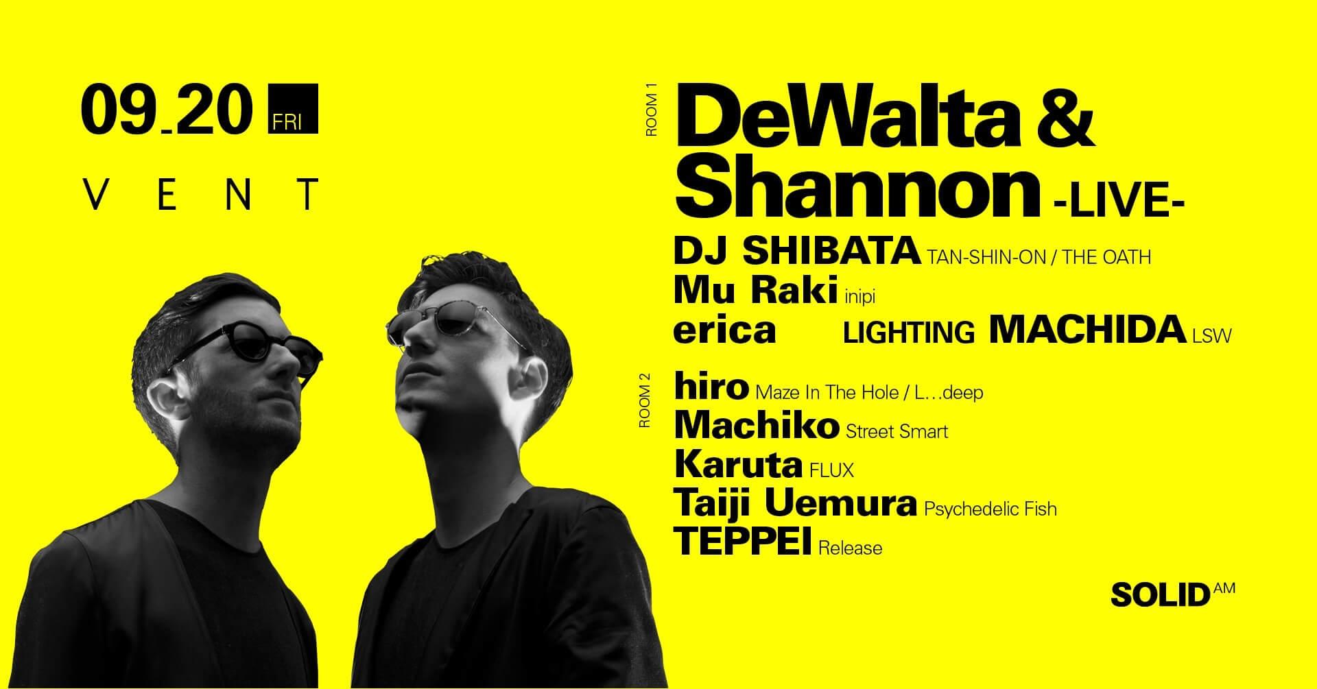 鬼才2人のユニットDeWalta & Shannonが待望のライブセットでVENTに登場! music190826_dewaltashannon_01