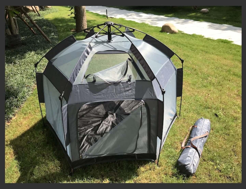 公園やピクニックで活躍!2秒で完成するマジックテントが東京ギフトショーで注目を集める tent-1440x1106