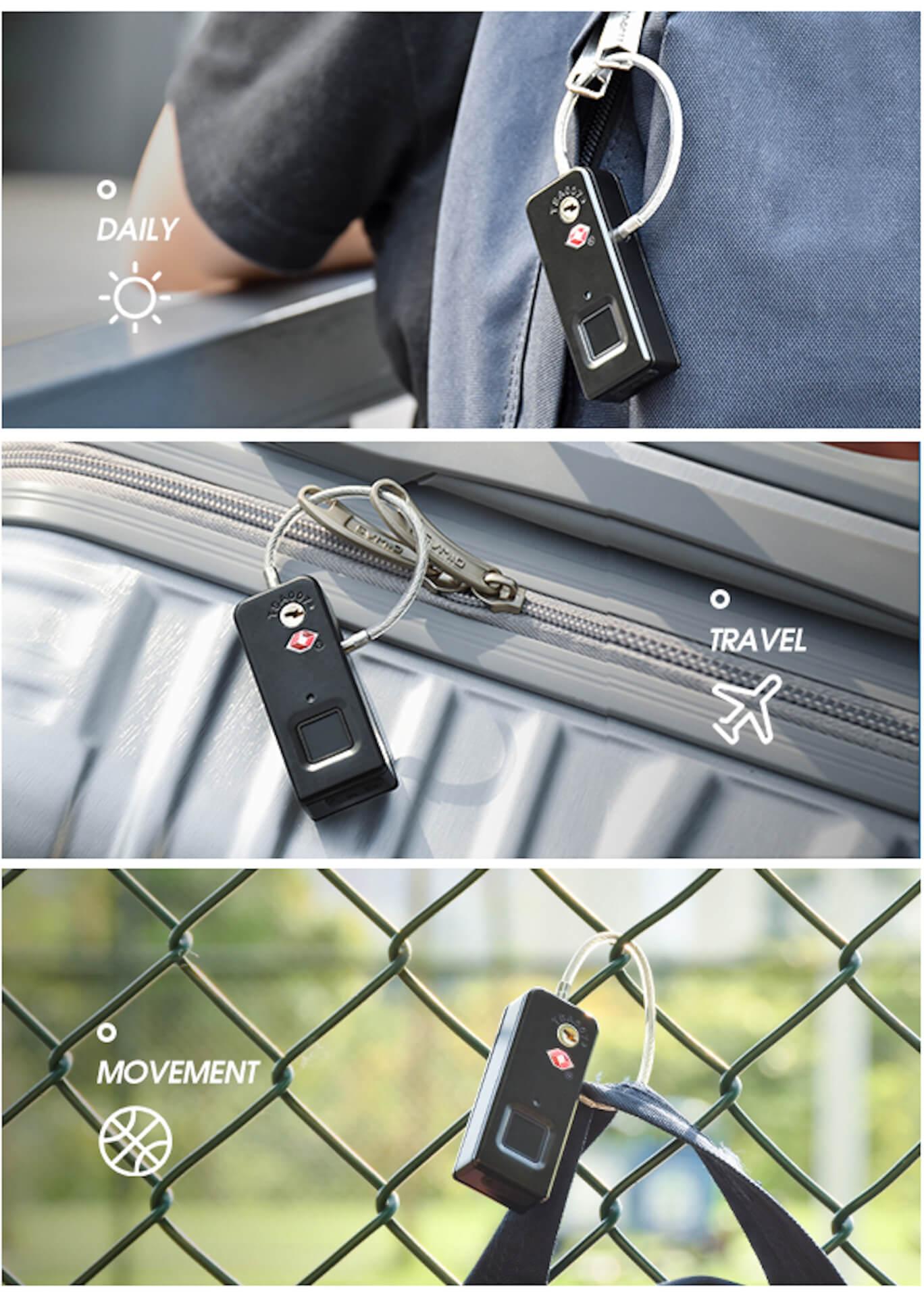 世界中で大反響の指紋で開けられるスマートロック「TRAVELOCK 2」がクラウドファンディングサイトに登場! tech190920_travellock2_2