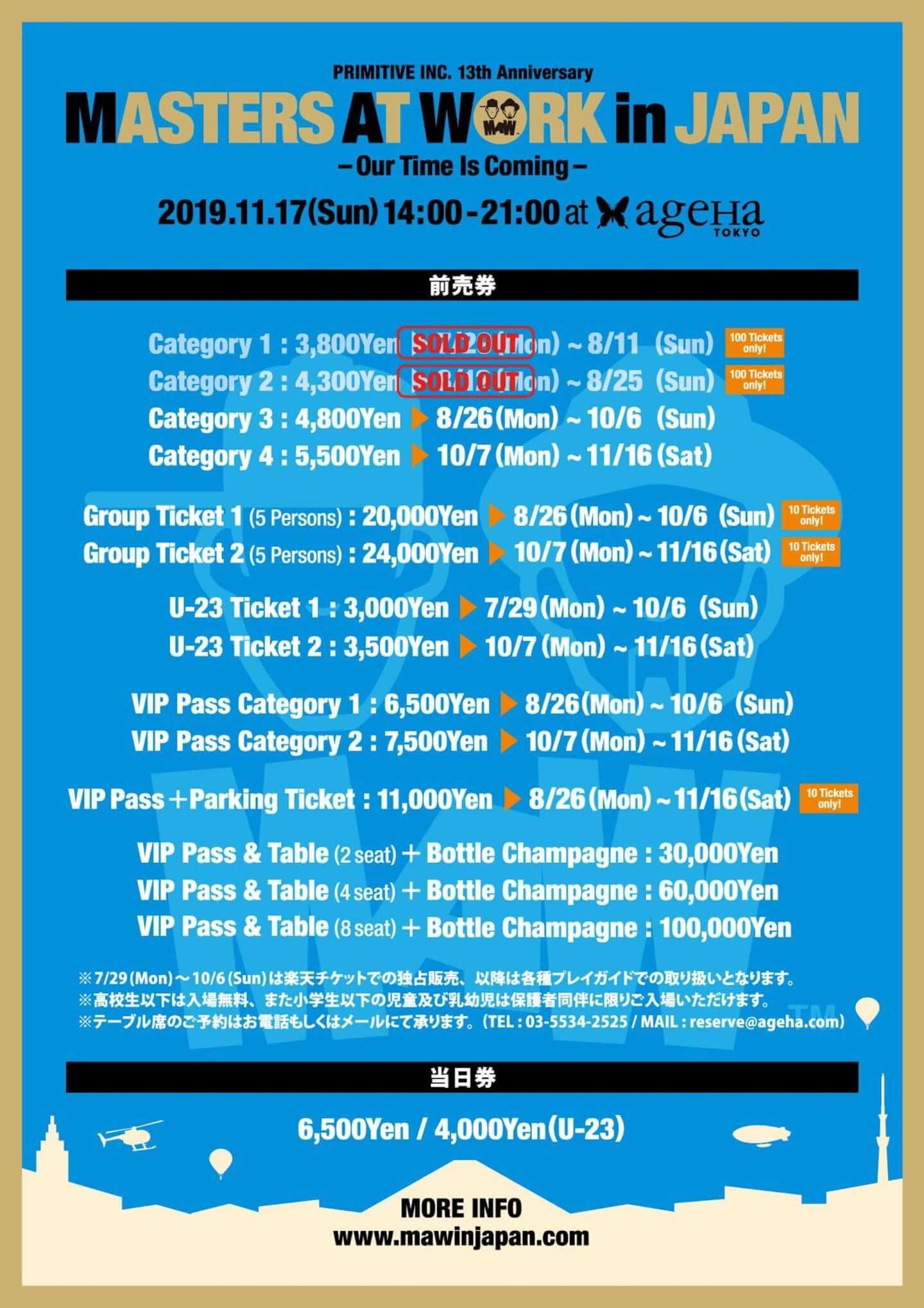 ルイ・ベガとケニー・ドープによる<MASTERS AT WORK in JAPAN>の第二弾ラインナップが発表|CAPTAIN VINYL、Kan Takagi、Kaoru Inoueらが登場 06_maw2019_ticket2-1440x2039