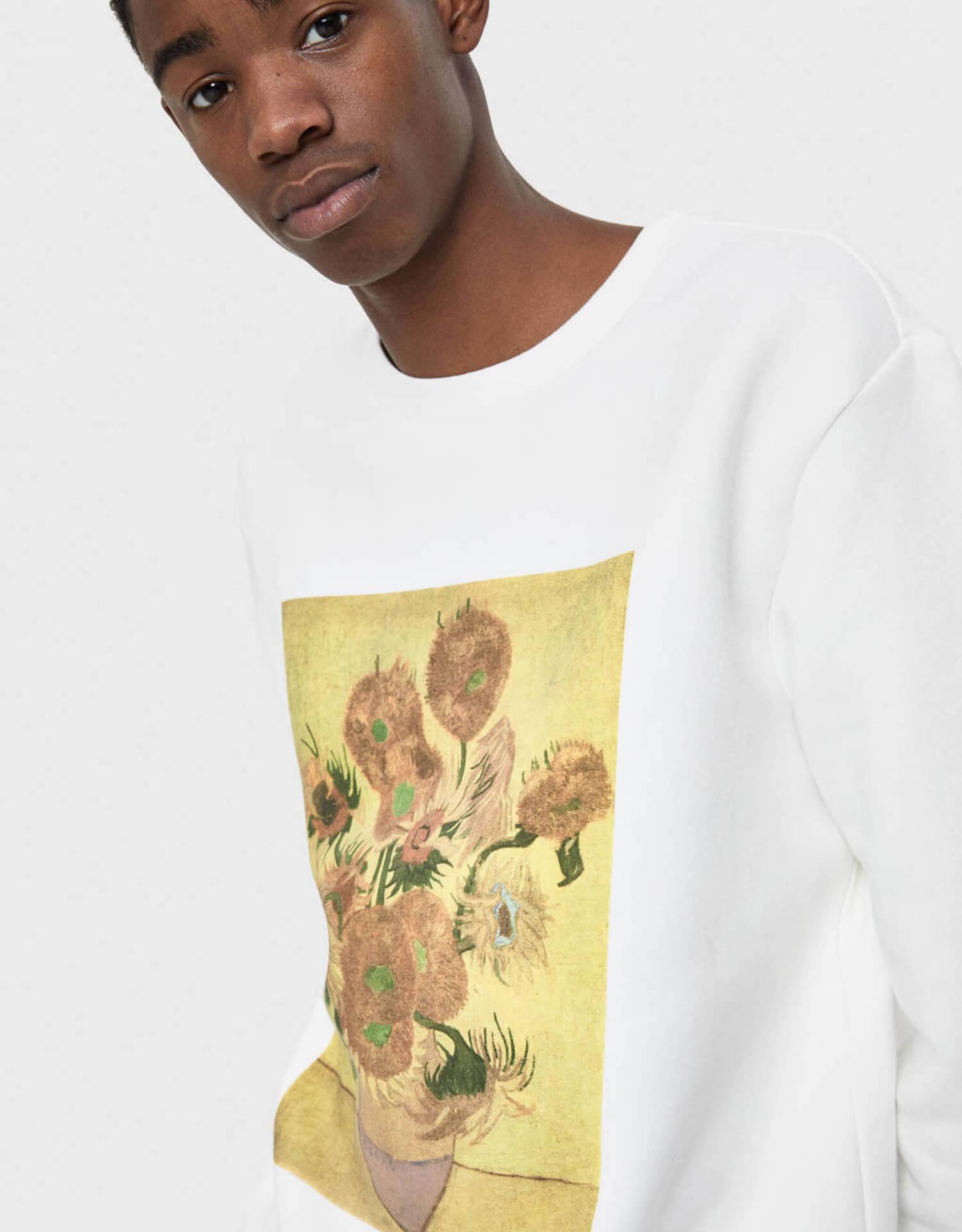 ゴッホ×Bershka 名作『ひまわり』や自画像をプリントしたスウェット、シャツが発売決定! lifefashion191017_bershkagogh_04