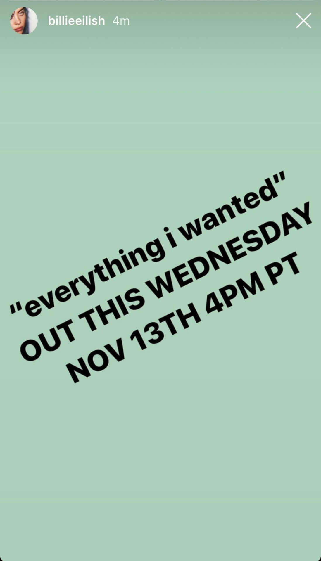 ビリー・アイリッシュ、新曲「everything i wanted」を全世界同時配信決定! music191111_billieeilish_newsong_1