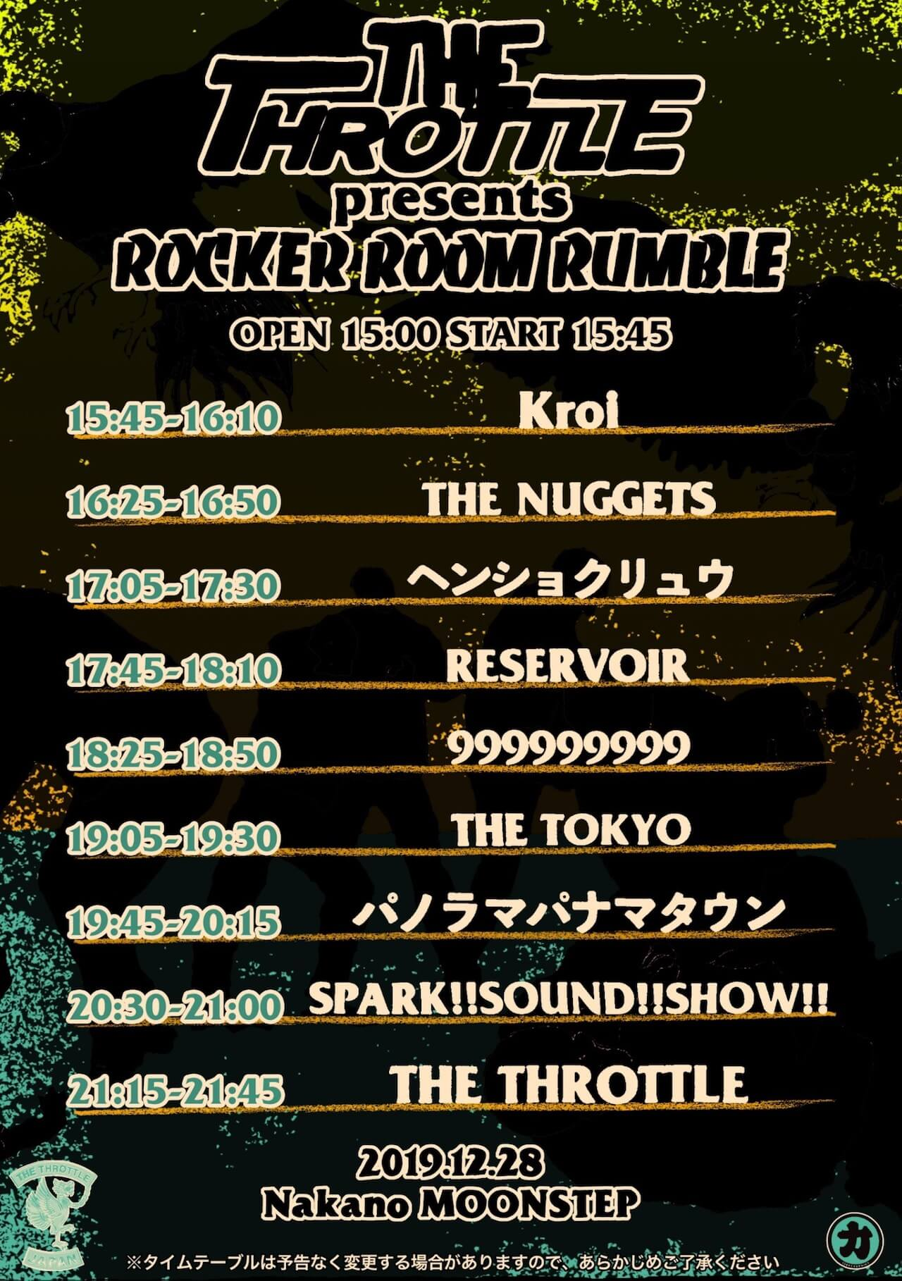THE THROTTLEが年末に主催するランブルパーティー<ROCKER ROOM RUMBLE>の全貌が明らかに|<水曜日のスロットル>2020年キックオフはTHE TOKYOを招いて開催 music191216-thethrottle-2