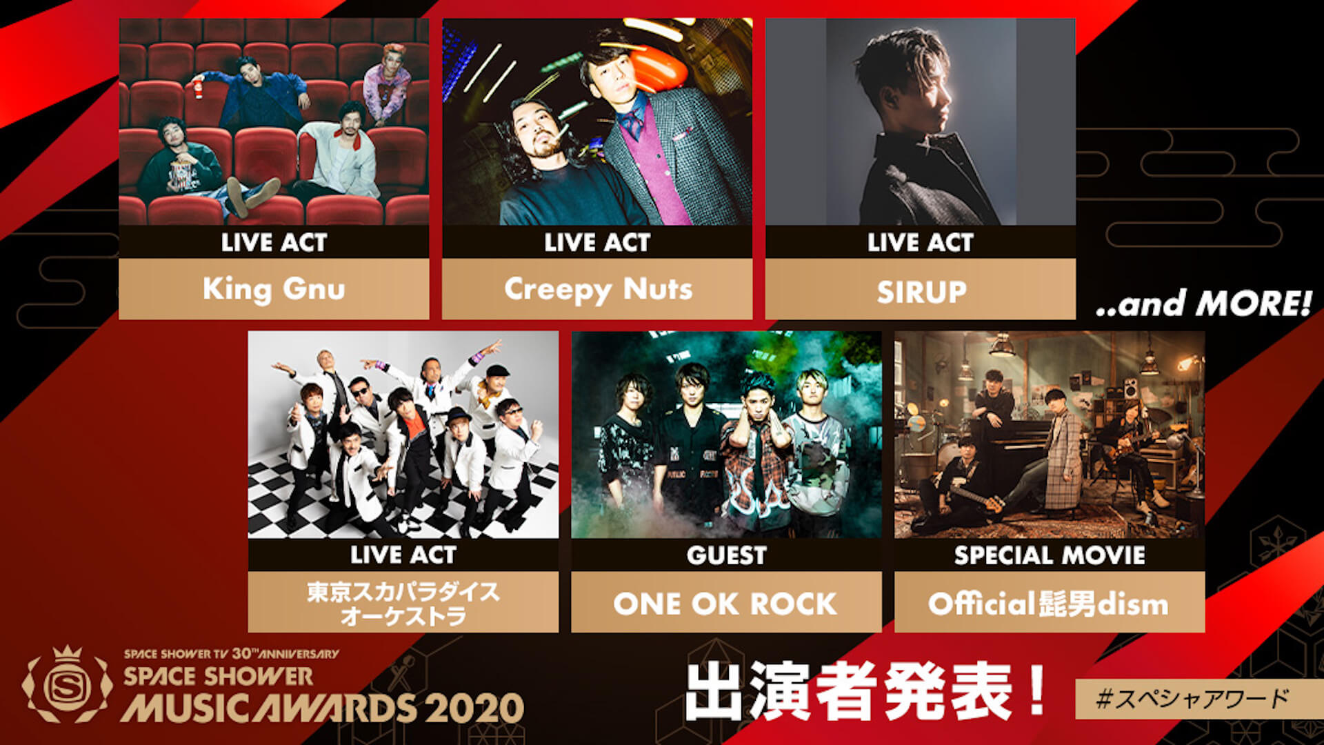 King GnuにSIRUPに、Official髭男dism!『SPACE SHOWER MUSIC AWARDS 2020』出演ラインナップが発表 music200123_ssma_1