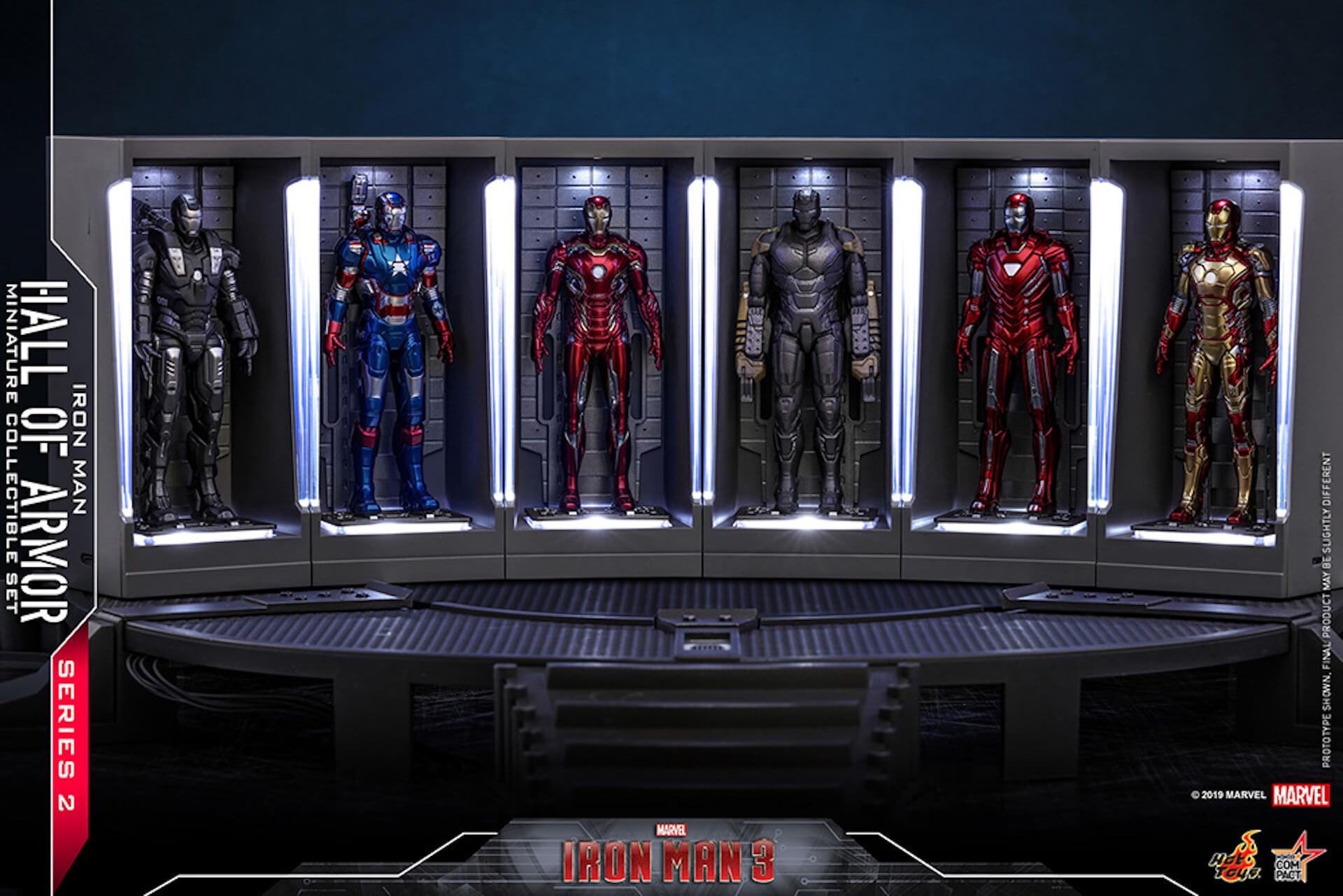 『アイアンマン3』に登場するアーマーが手のひらサイズに!ホットトイズからアイアンマンのミニチュアシリーズ2がホール・オブ・アーマー付き6体セットで発売! ac200124_hottoys_ironman_01
