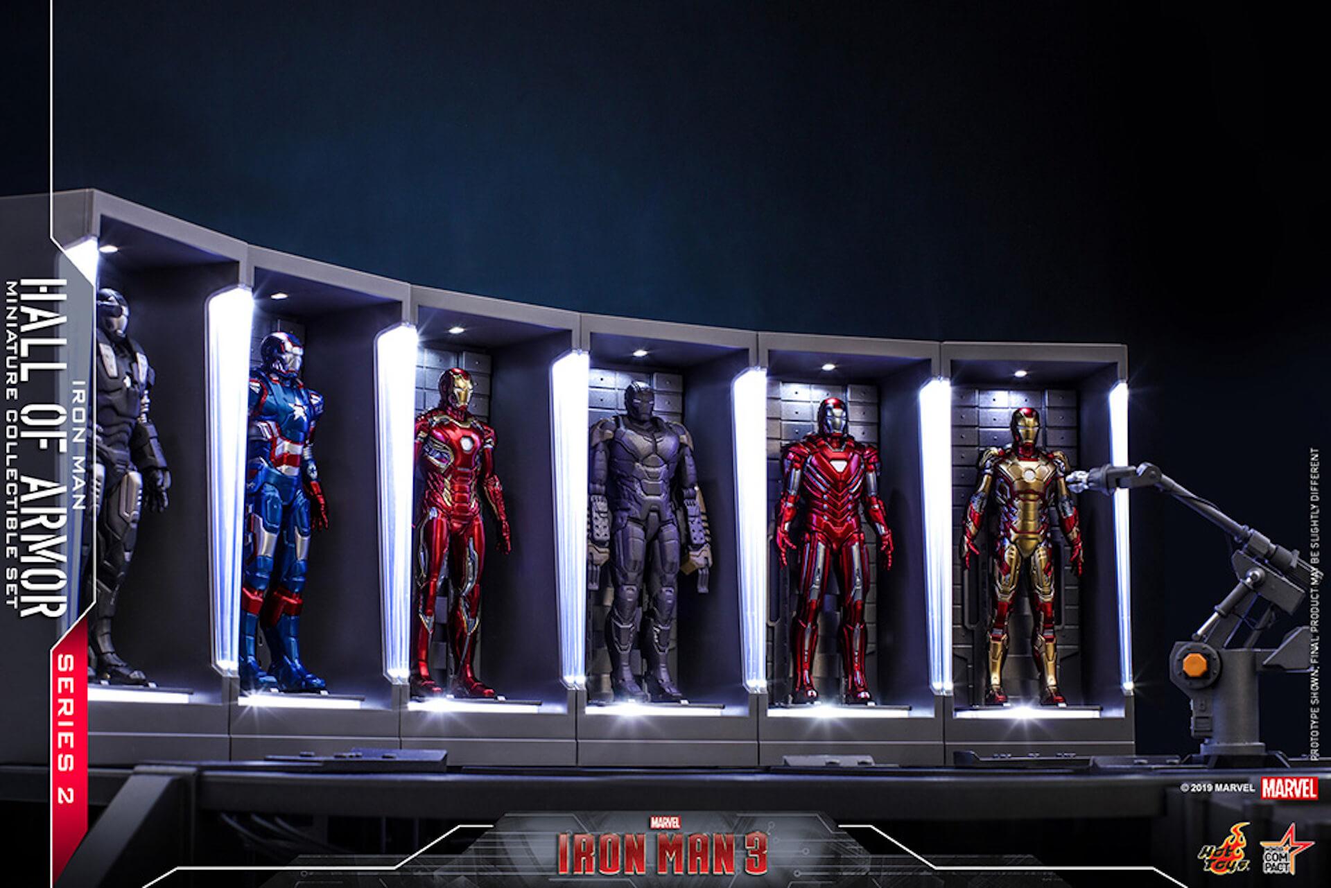 『アイアンマン3』に登場するアーマーが手のひらサイズに!ホットトイズからアイアンマンのミニチュアシリーズ2がホール・オブ・アーマー付き6体セットで発売! ac200124_hottoys_ironman_02