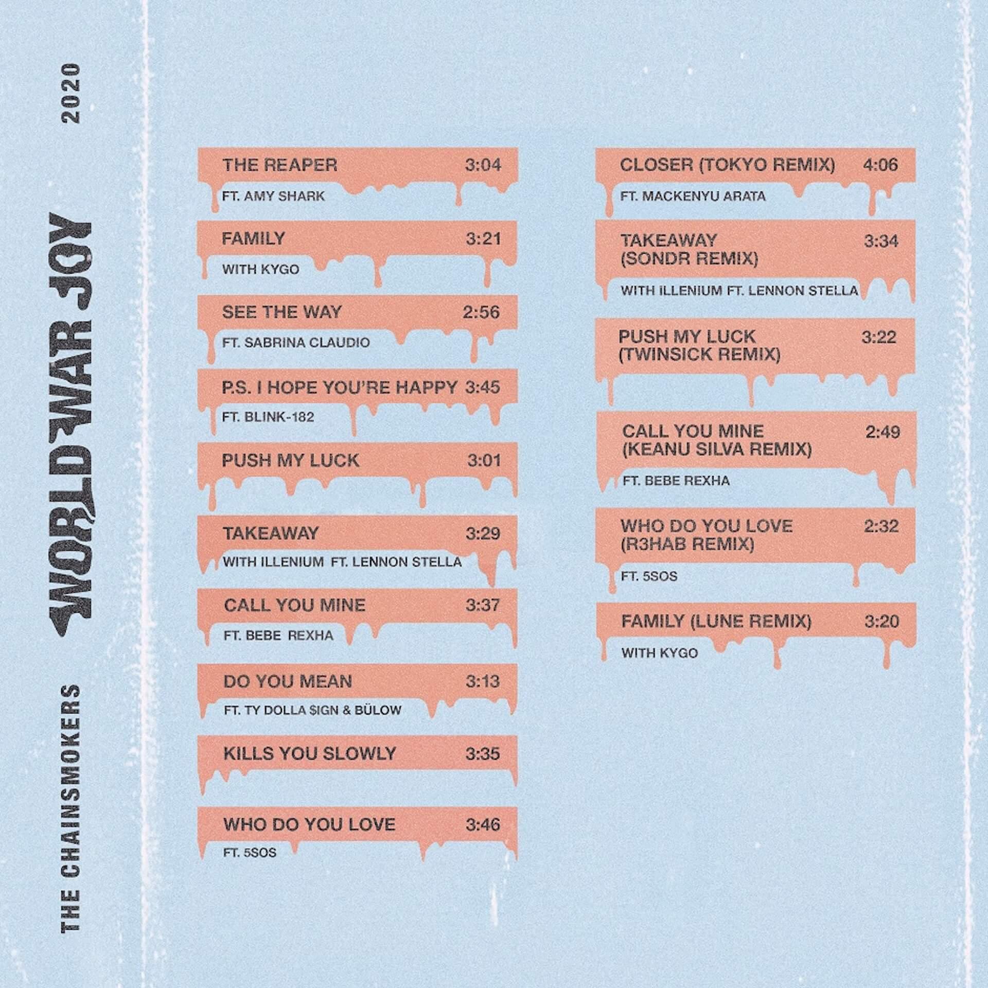 日本のトップ・キュレーター/DJ、TJOがThe Chainsmokersの最新アルバム『ワールド・ウォー・ジョイ』をプレイヤー目線で徹底検証 music200205_closertokyo_4