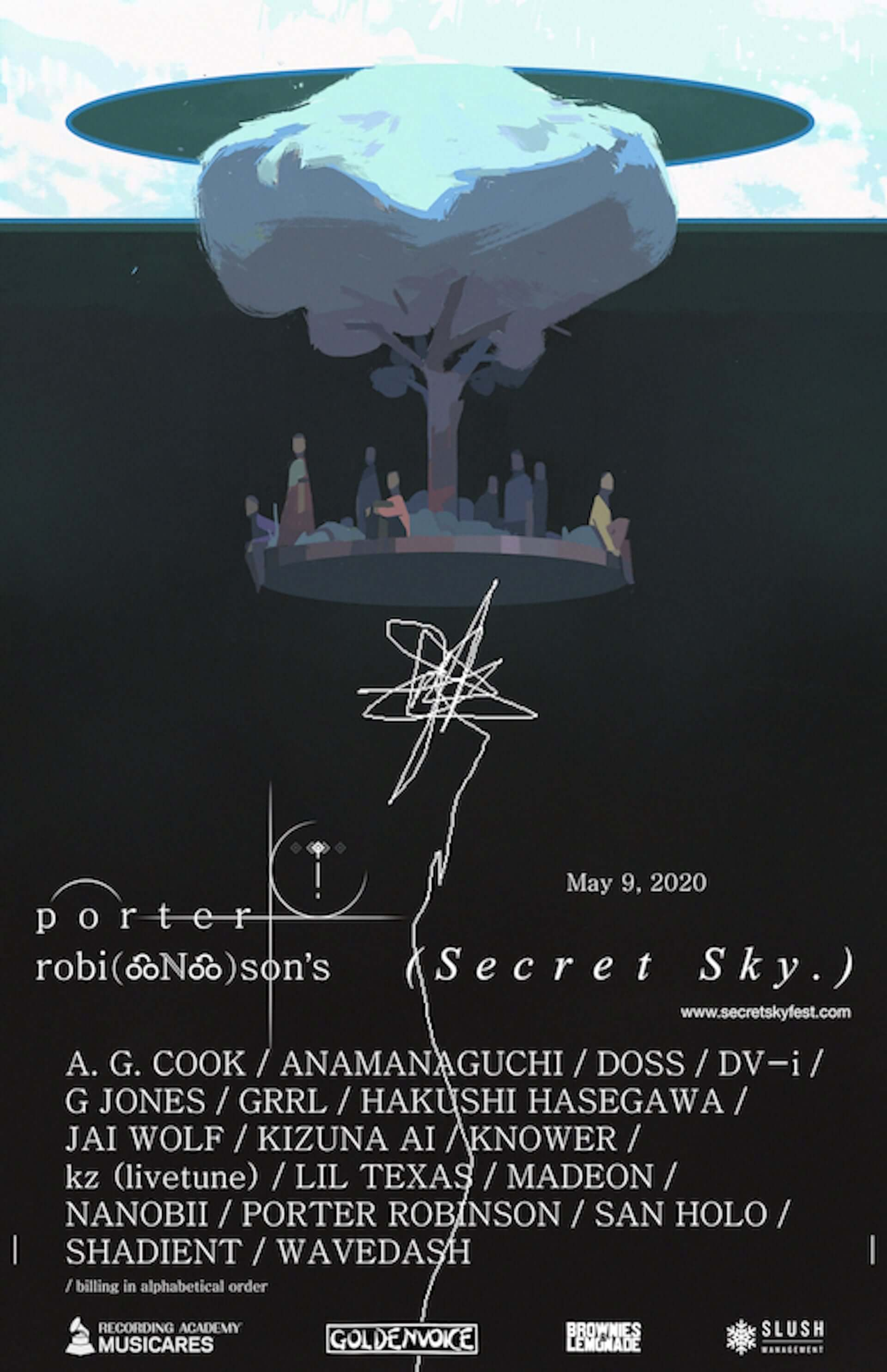 Porter Robinson主催オンラインフェス<SECRET SKY MUSIC FESTIVAL>に長谷川白紙が出演決定!Madeon、キズナアイ、kz(livetune)もラインナップ music200507_hasegawahakushi_1-1920x2968