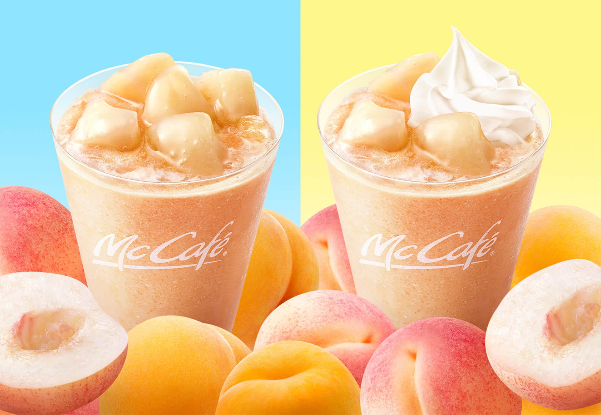 マクドナルドのMcCafé by Baristaに夏気分を先取りできる「桃のスムージー」が再登場! gourmet200513_mcdonald_momo_4