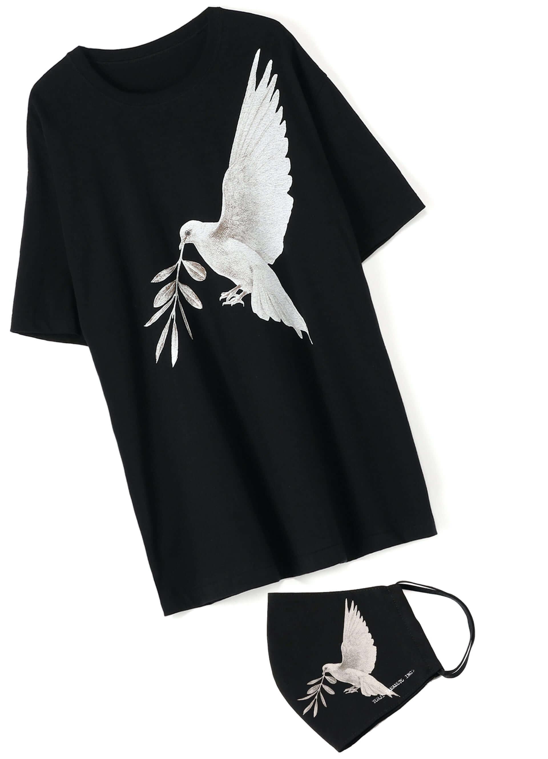 YOHJI YAMAMOTO +NOIRと画家 内田すずめがコラボした「Tシャツ+マスク」が限定販売!鳩や手の平のモチーフ3型 lf200604_yohjiyamamoto_01-1920x2658
