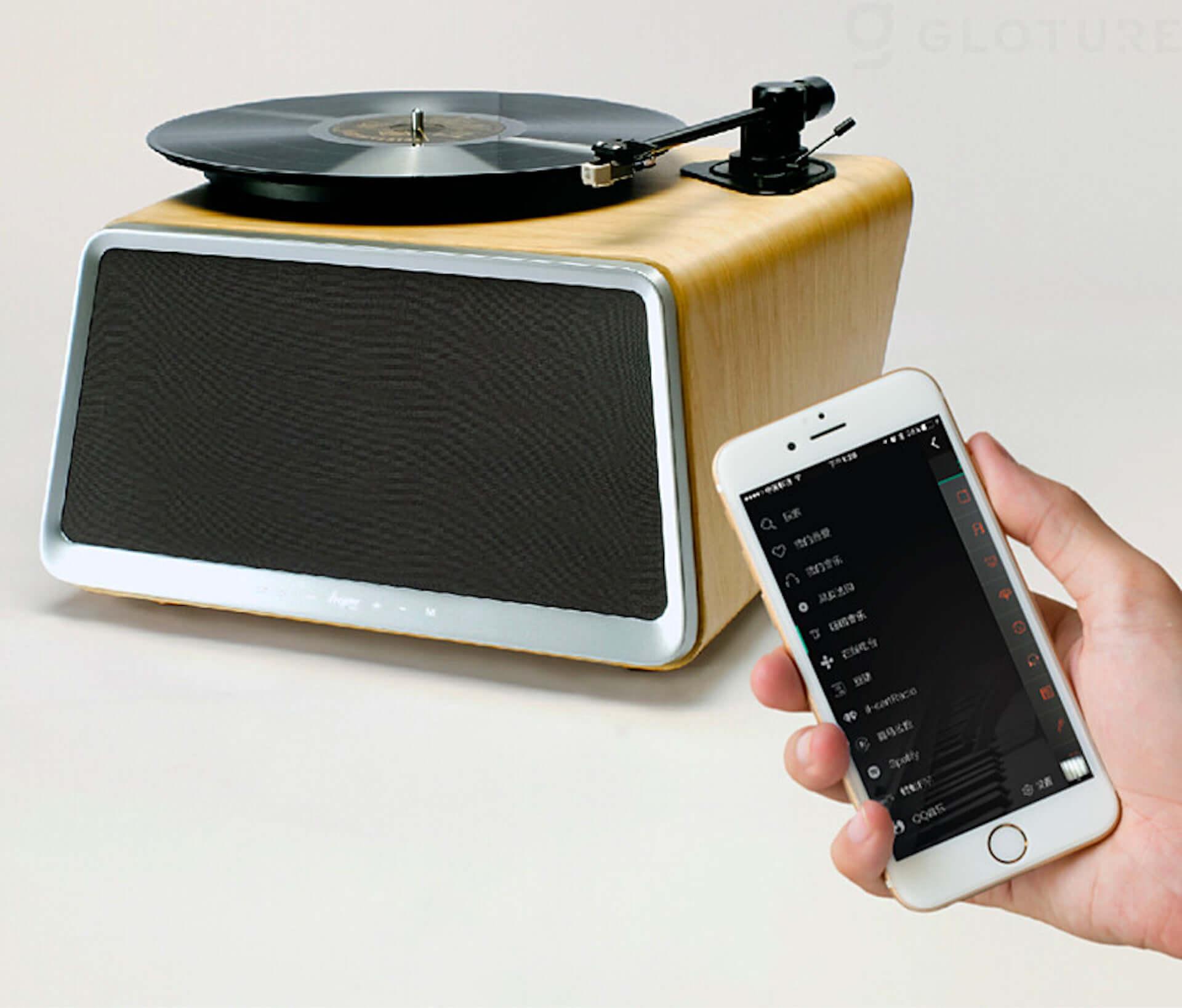 レコードもスマートフォンの音楽もこれ1つで!スピーカー内蔵型レコードプレイヤーがGLOTURE.JPにて販売開始 tech200520_hymseed_04-1920x1637