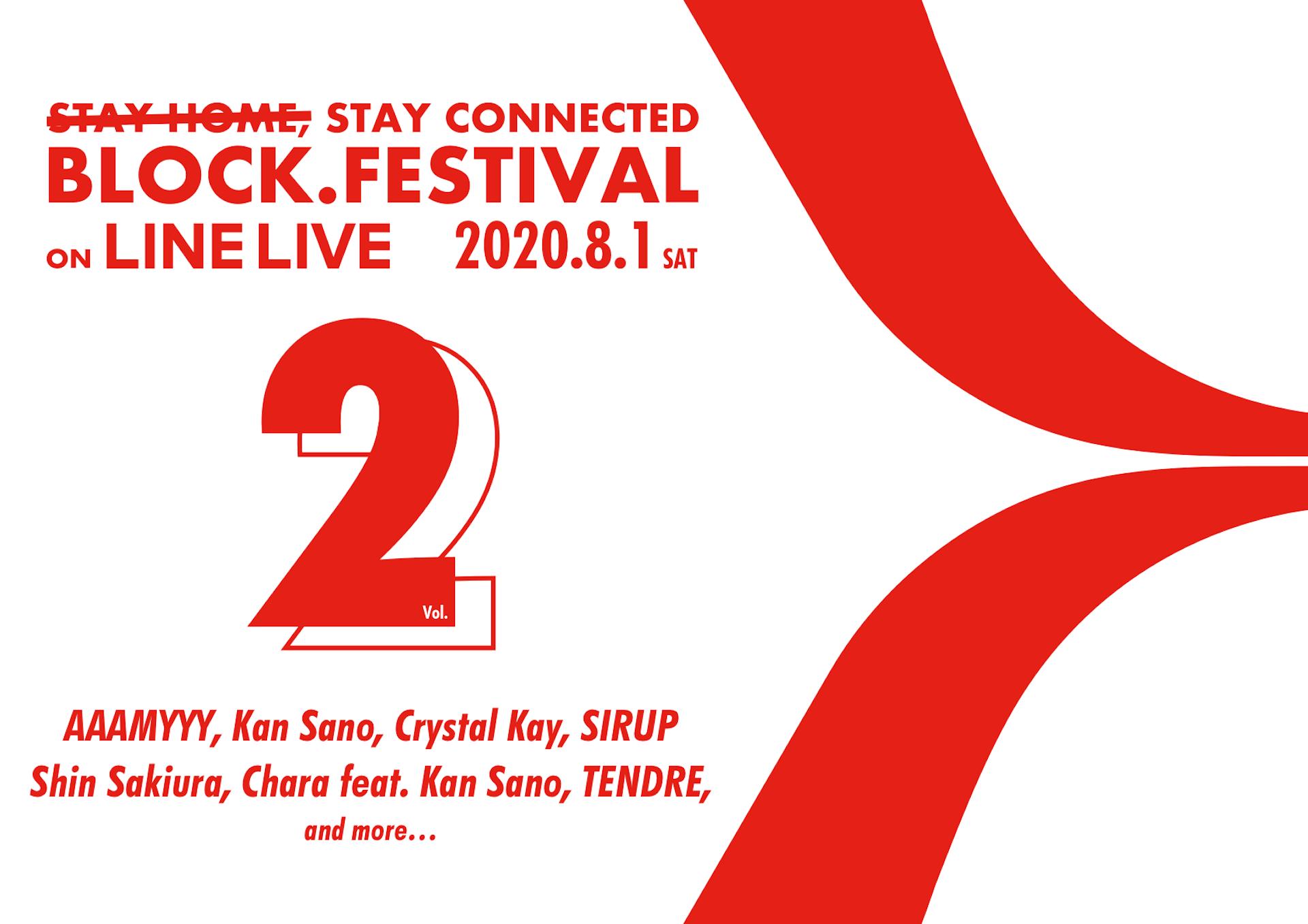 オンライン夏フェス<BLOCK.FESTIVAL>Vol.2の第1弾ラインナップが発表!Crystal Kay、Shin Sakiura、Chara、SIRUPら7組 music200709_block_fes_3-1920x1357