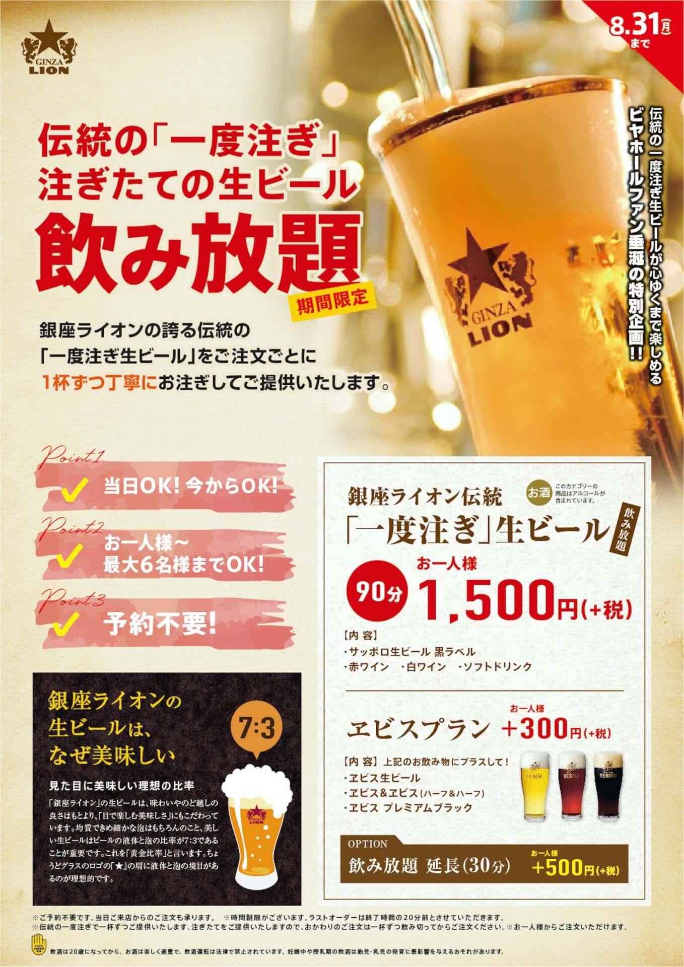 こだわりの一度注ぎ生ビールを堪能しよう!銀座ライオンとYEBISU BARで生ビールの飲み放題が期間限定で実施 gourmet200720_beer_ginza_yebisu_03
