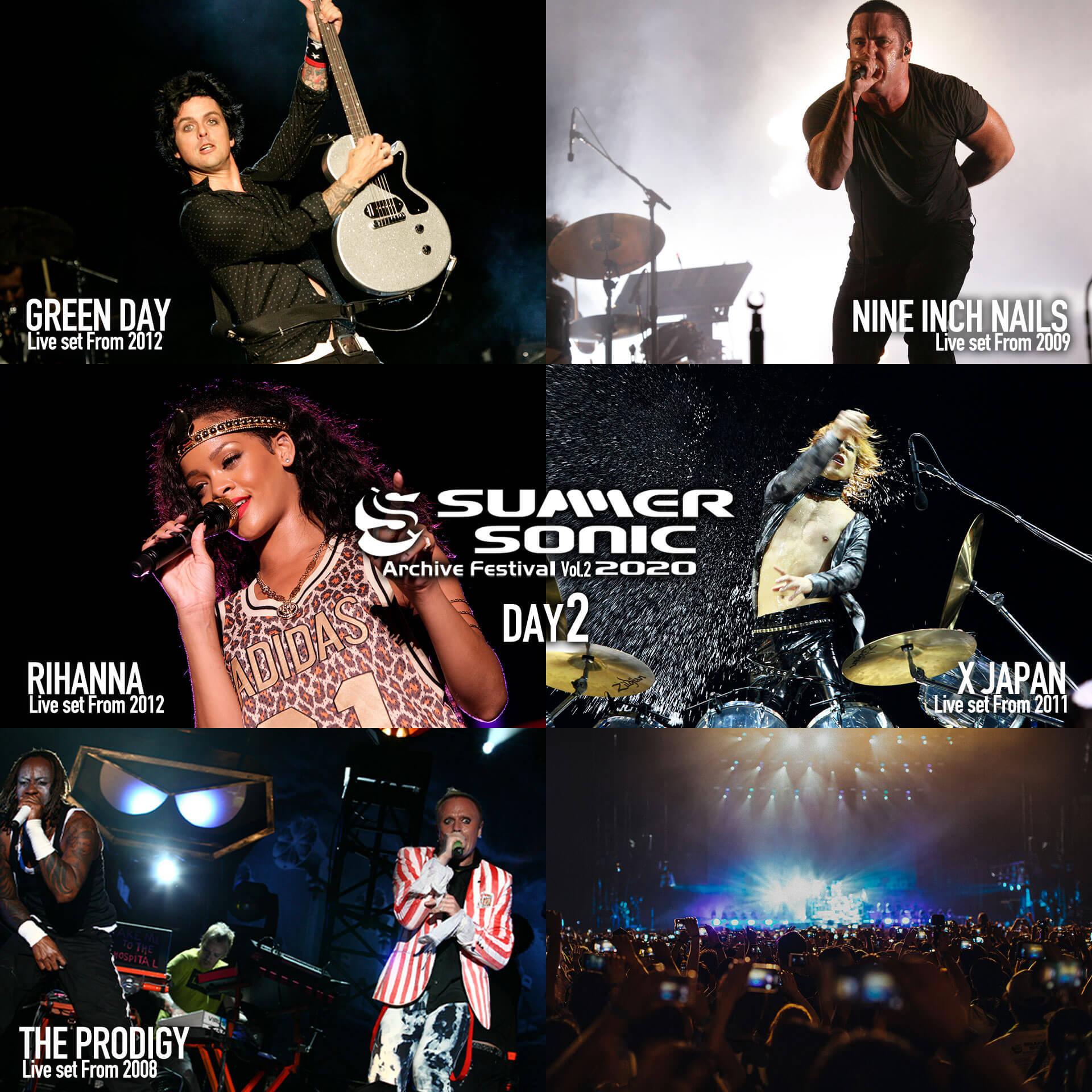<SUMMER SONIC 2020 アーカイヴフェスティバル>第2弾の配信アーティストが決定!Rihanna、Green Day、Oasis、Sigur Ros、The Prodigyなど12組 music200720_summersonic_archive_2