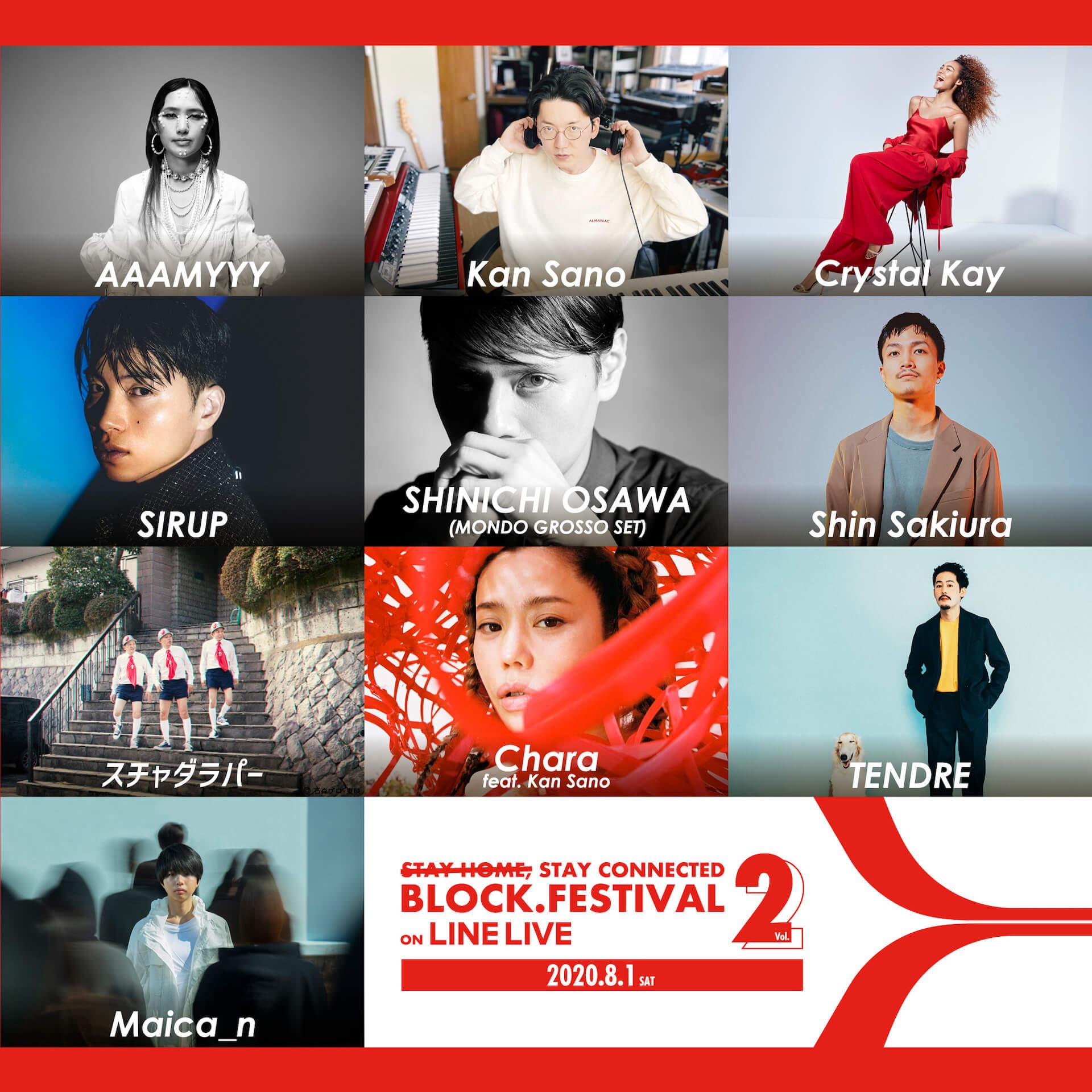 オンラインフェス<BLOCK.FESTIVAL Vol.2>にSHINICHI OSAWA、スチャダラパーらが追加&タイムスケジュールも公開!当日はリアル花火など特別企画も music2020729_blockfes7