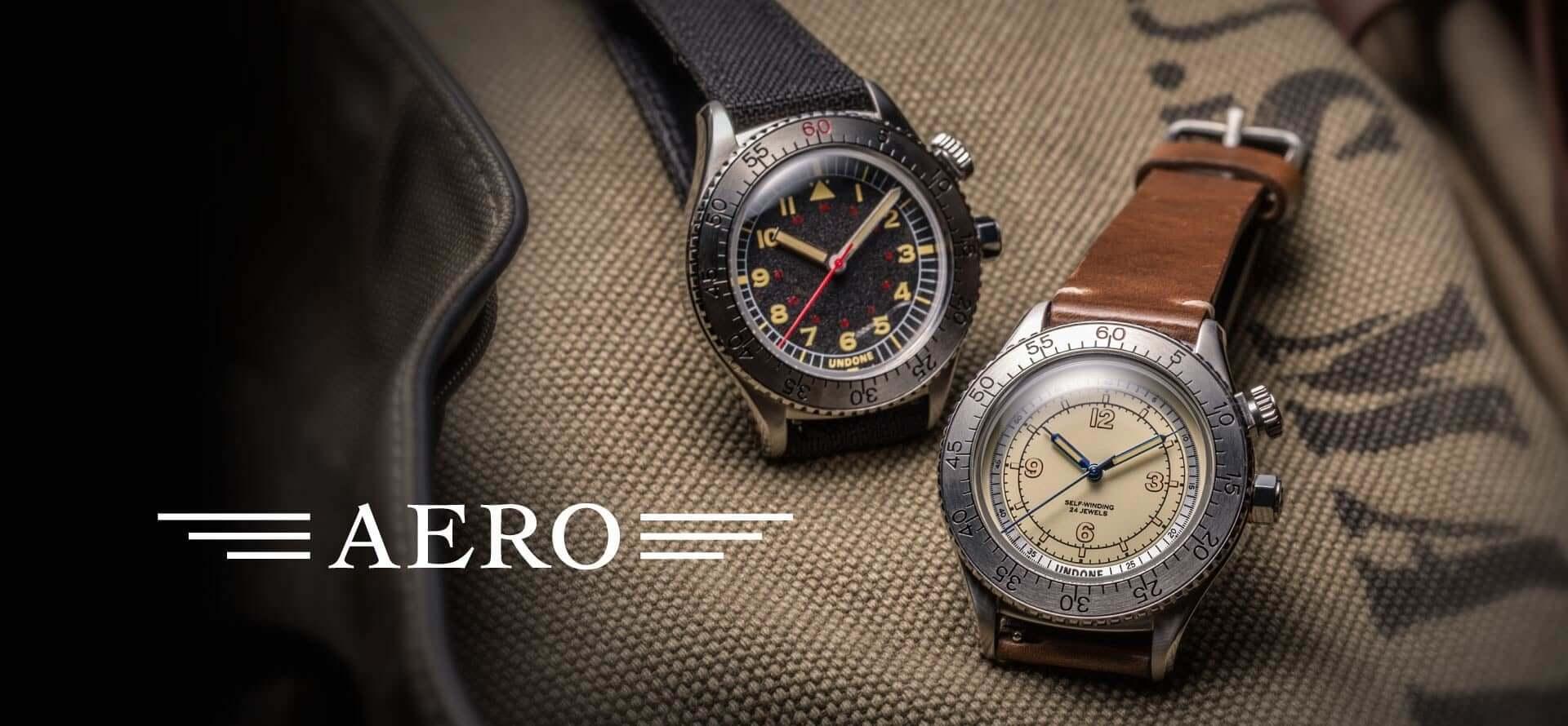 UNDONEがヴィンテージスタイルの新コレクション「AERO」を発売!ロック付き回転ベゼル搭載のパイロットウォッチが2型登場 tech200915_undone-aero_2-1920x890
