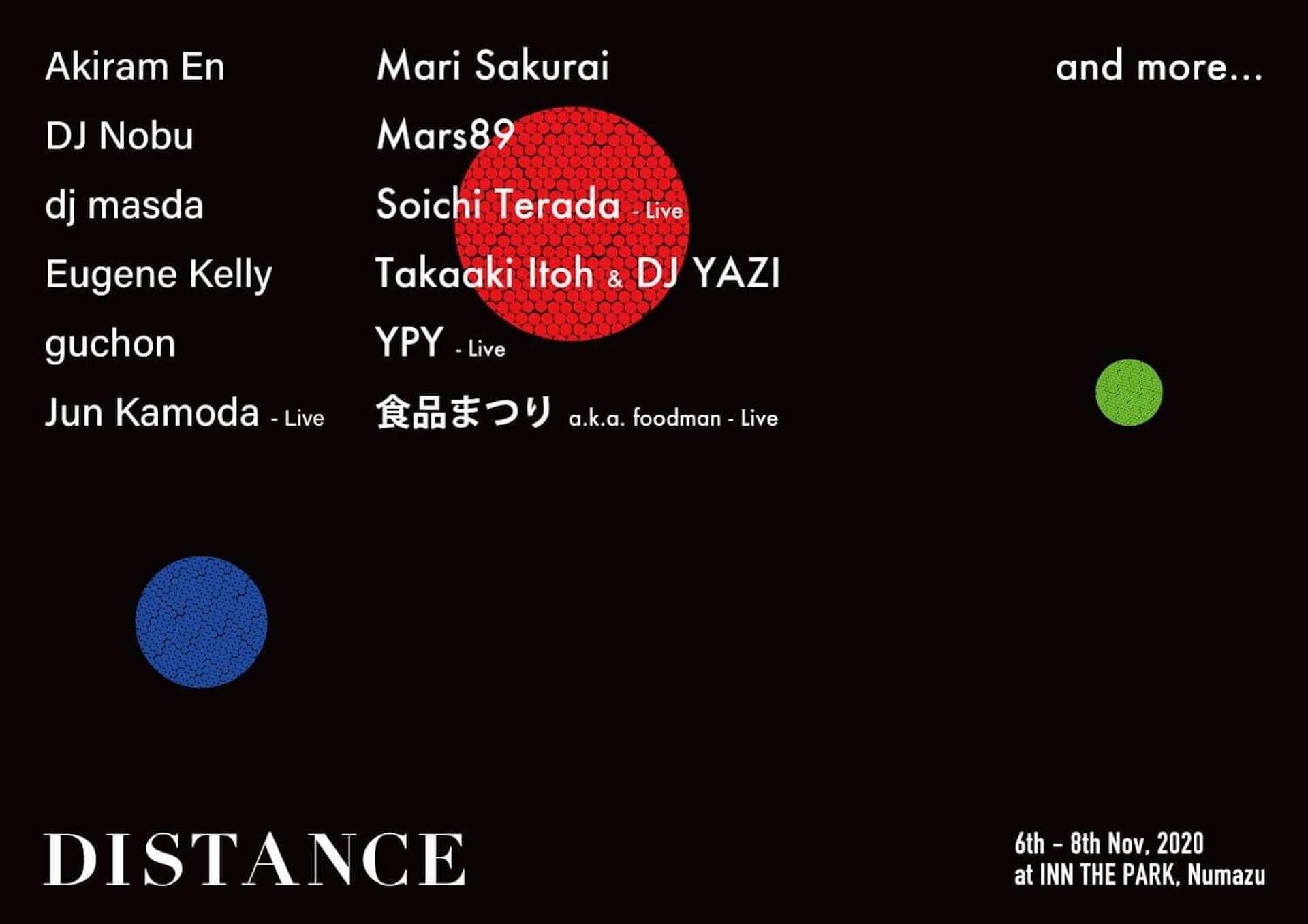 静岡の泊まれる公園「INN THE PARK」にて野外フェス<DISTANCE>が開催決定!DJ Nobu、Soichi Terada、Mars89、Jun Kamodaらが出演 music201006_distance2020_11-1920x1357
