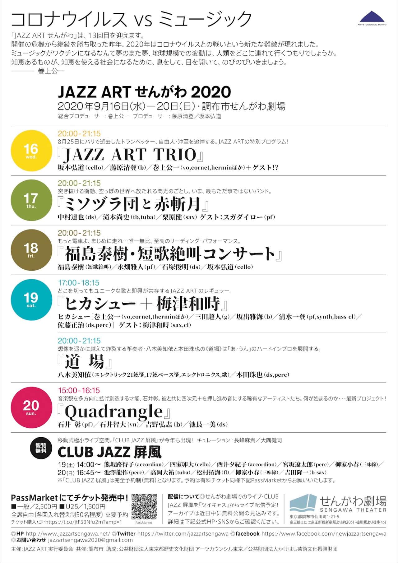 世界へ広がる即興音楽祭<JAZZ ART せんがわ 2020>が「コロナウイルスvsミュージック」をテーマに開催|ヒカシュー、「ミソヅラ団」+スガダイロー、沖至追悼ステージなど music200914-jazzartsengawa-1