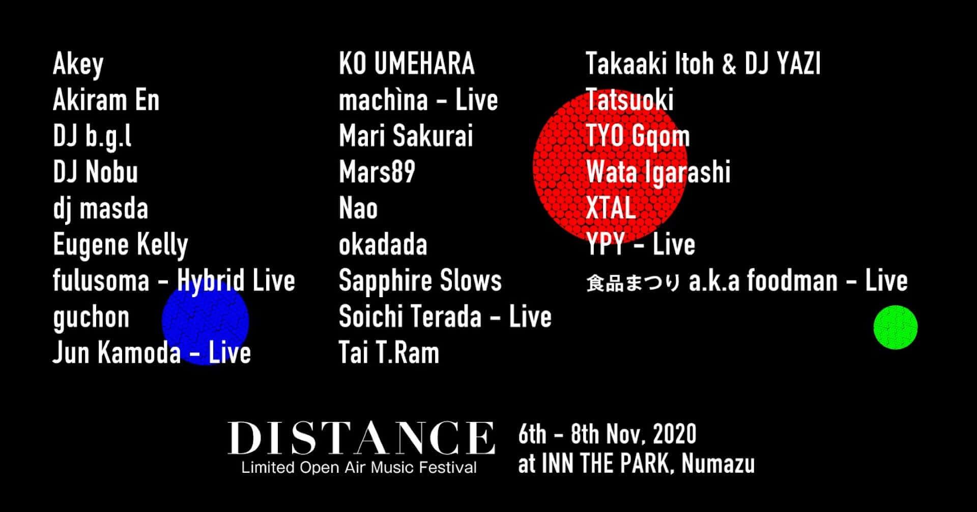 野外フェス<DISTANCE>にokadada、machìna、Wata Igarashi、Sapphire Slowsらが出演決定!静岡の泊まれる公園「INN THE PARK」にて開催 music201016_distance2020_9-1920x1006
