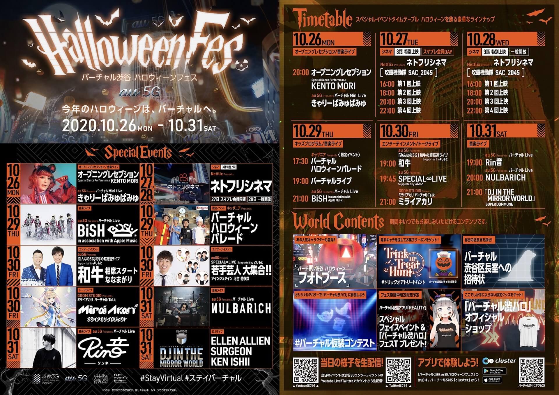 <バーチャル渋谷 au 5G ハロウィーンフェス>がついに本日開幕!最終日はEllen Allien、SURGEONら参加のDOMMUNEコラボイベントも実施 music201026_shibuya_halloween_11
