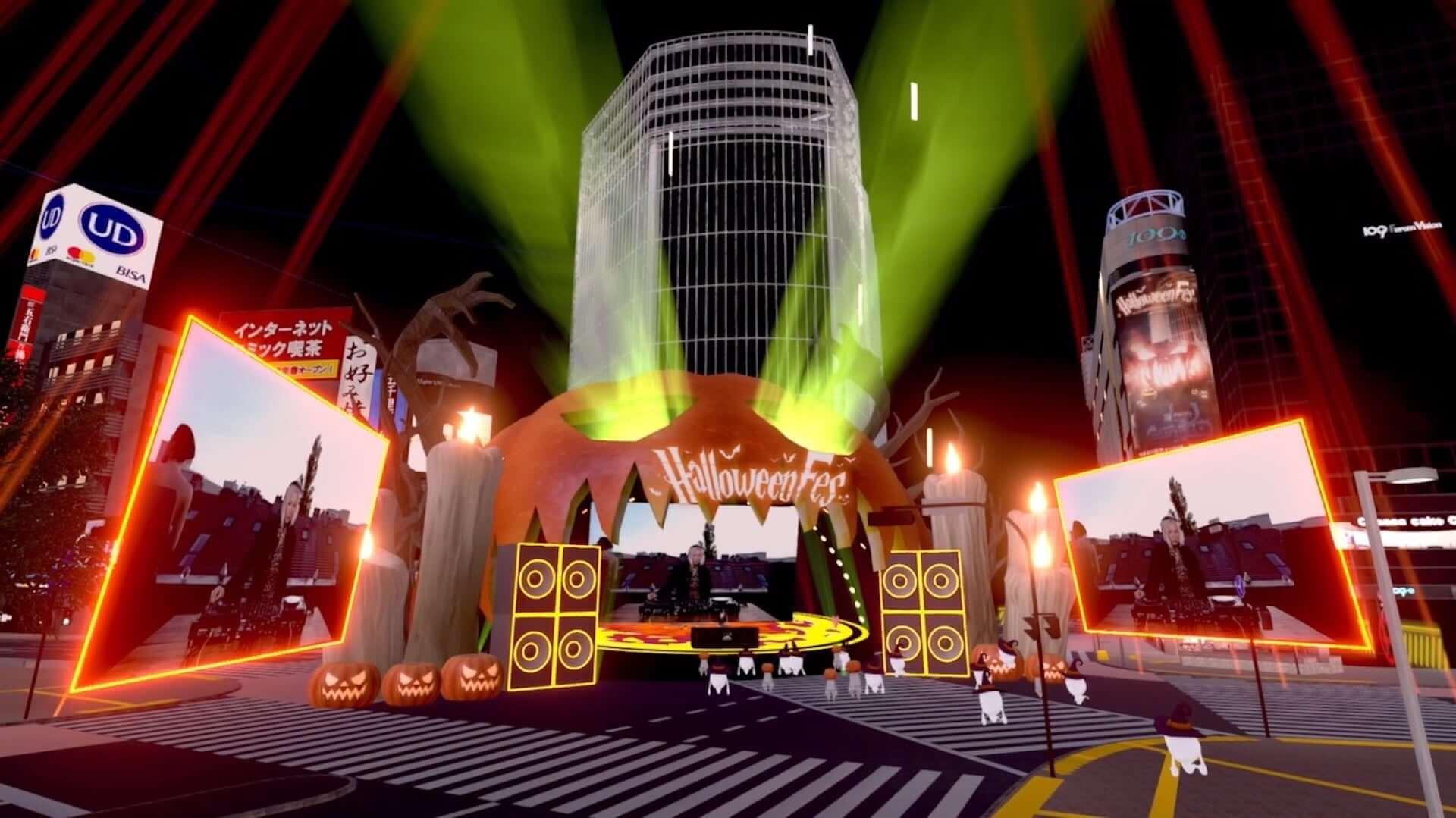 バーチャル渋谷にSUPER DOMMUNEが出現!Ellen Allien、KEN ISHIIらが出演した<DJ IN THE MIRROR WORLD>のレポートが到着 art201104_shibuya5g-halloweenfes_41-1920x1079