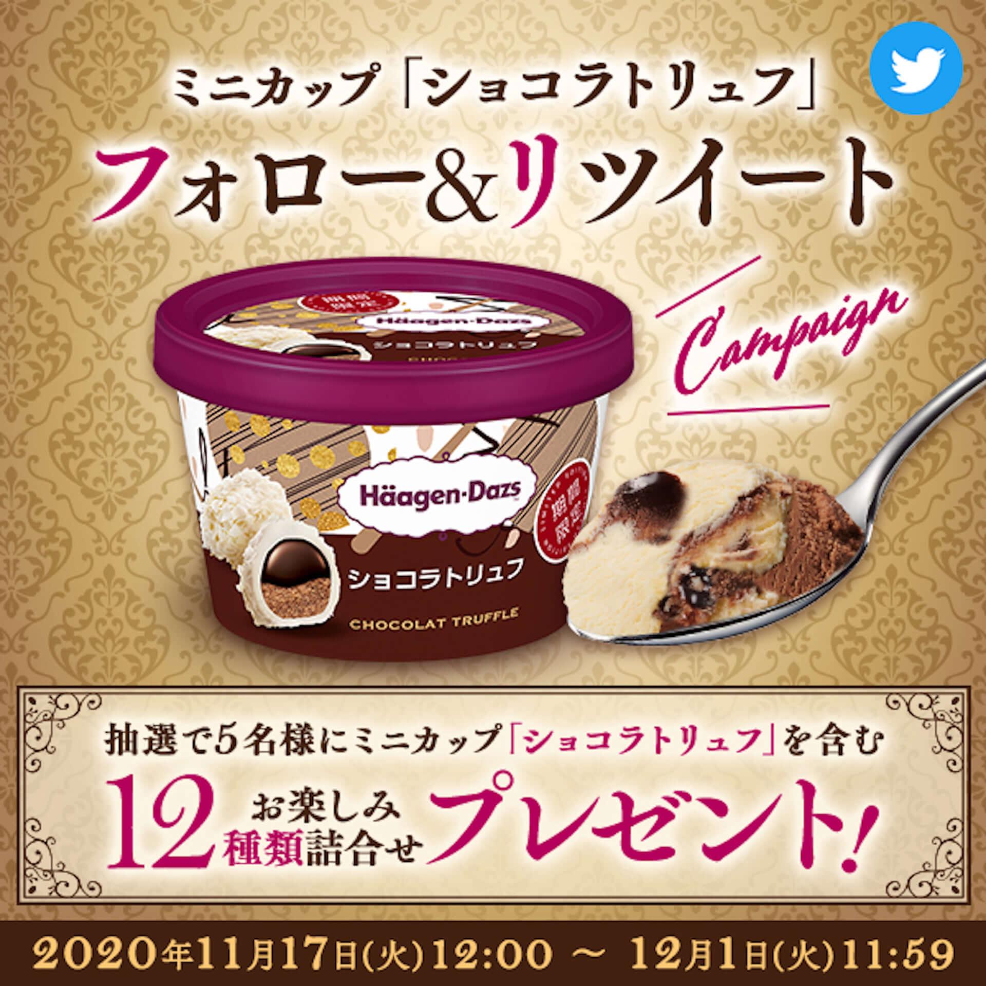 ハーゲンダッツから3種のチョコレートを使用したミニカップ『ショコラトリュフ』が登場!アイスクリーム詰め合わせが当たるキャンペーンも実施 gourmet201116_haagen-dazs_1-1920x1920