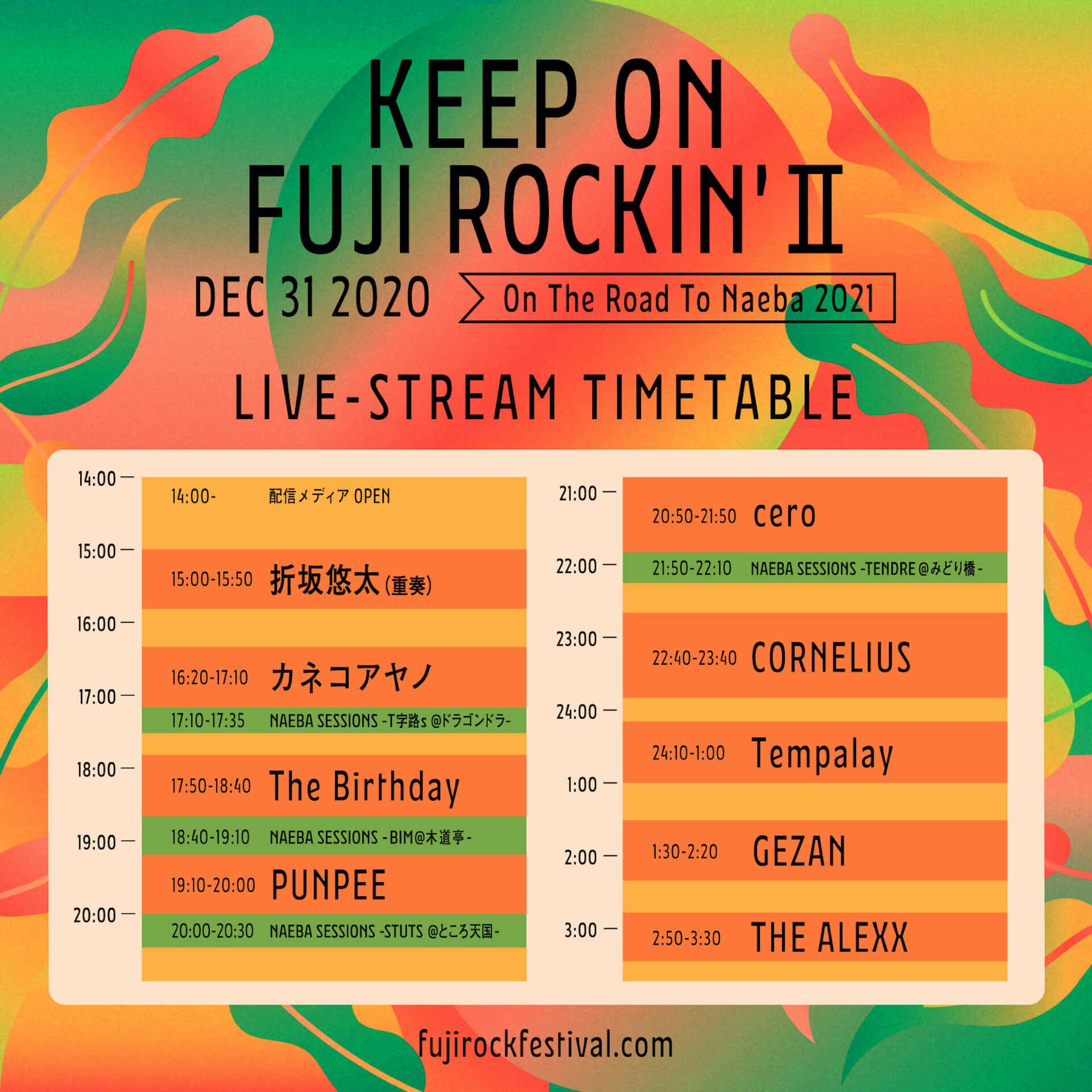 <KEEP ON FUJI ROCKIN' II>にBIM、STUTS、TENDRE、T字路sによるライブ動画が追加!最新タイムテーブルが公開 music201228_keeponfujirockin_2-1920x1920