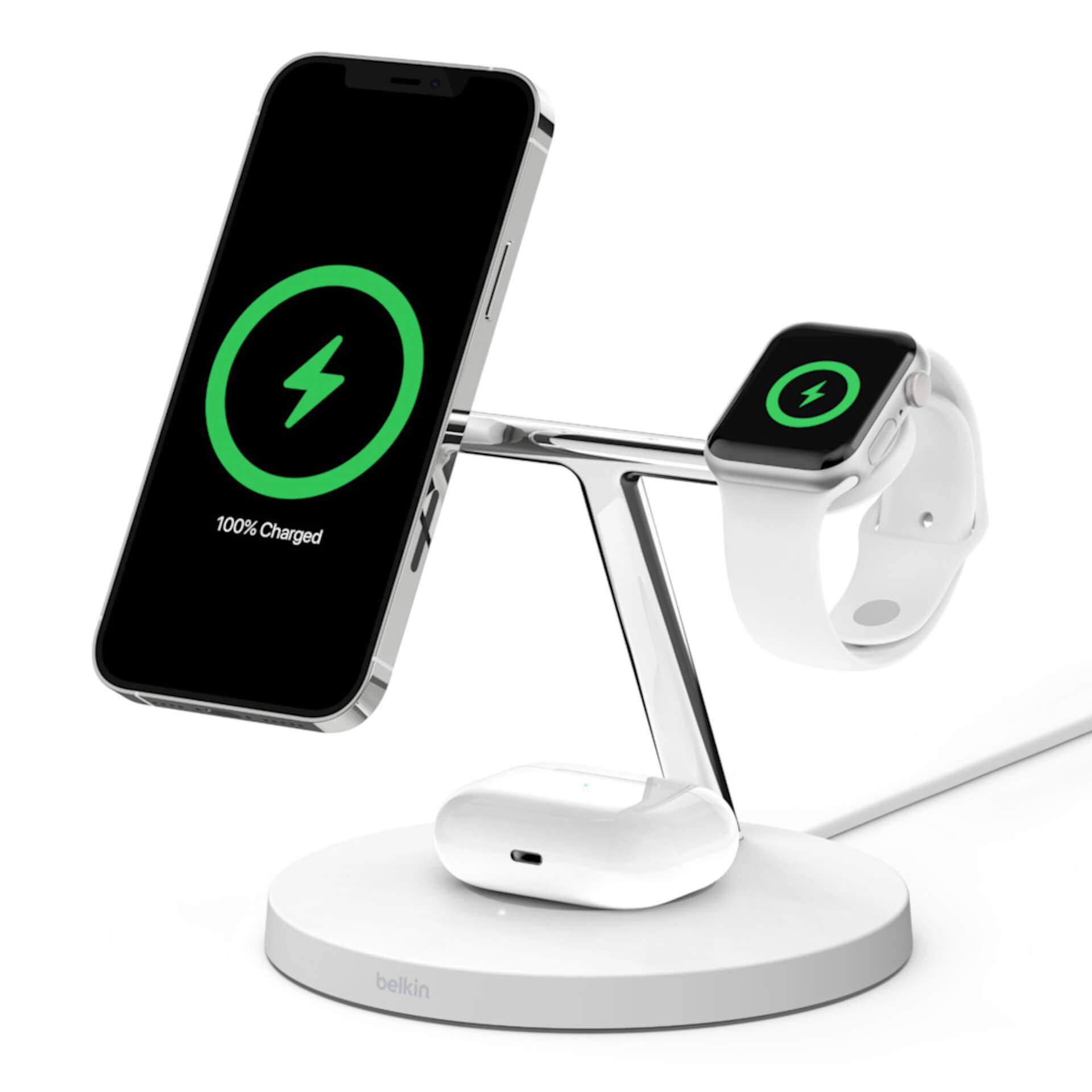 BelkinからiPhone 12シリーズに対応した高機能製品3点が発売!MagSafeを利用した3-in-1のワイヤレス充電器などが登場 tech210120_magsafe_belkin_3
