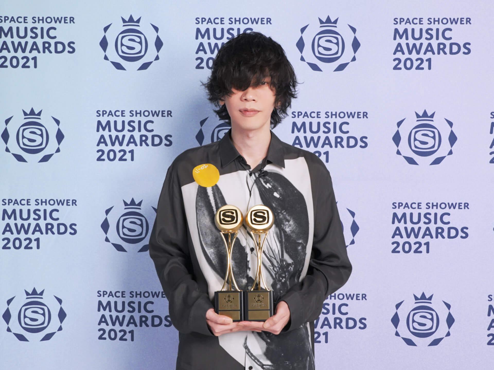 米津玄師がSPACE SHOWER MUSIC AWARDS 2021で2部門受賞!自身初のALBUM OF THE YEAR&VIDEO OF THE YEAR music210308_yonezukenshi_ssma_4