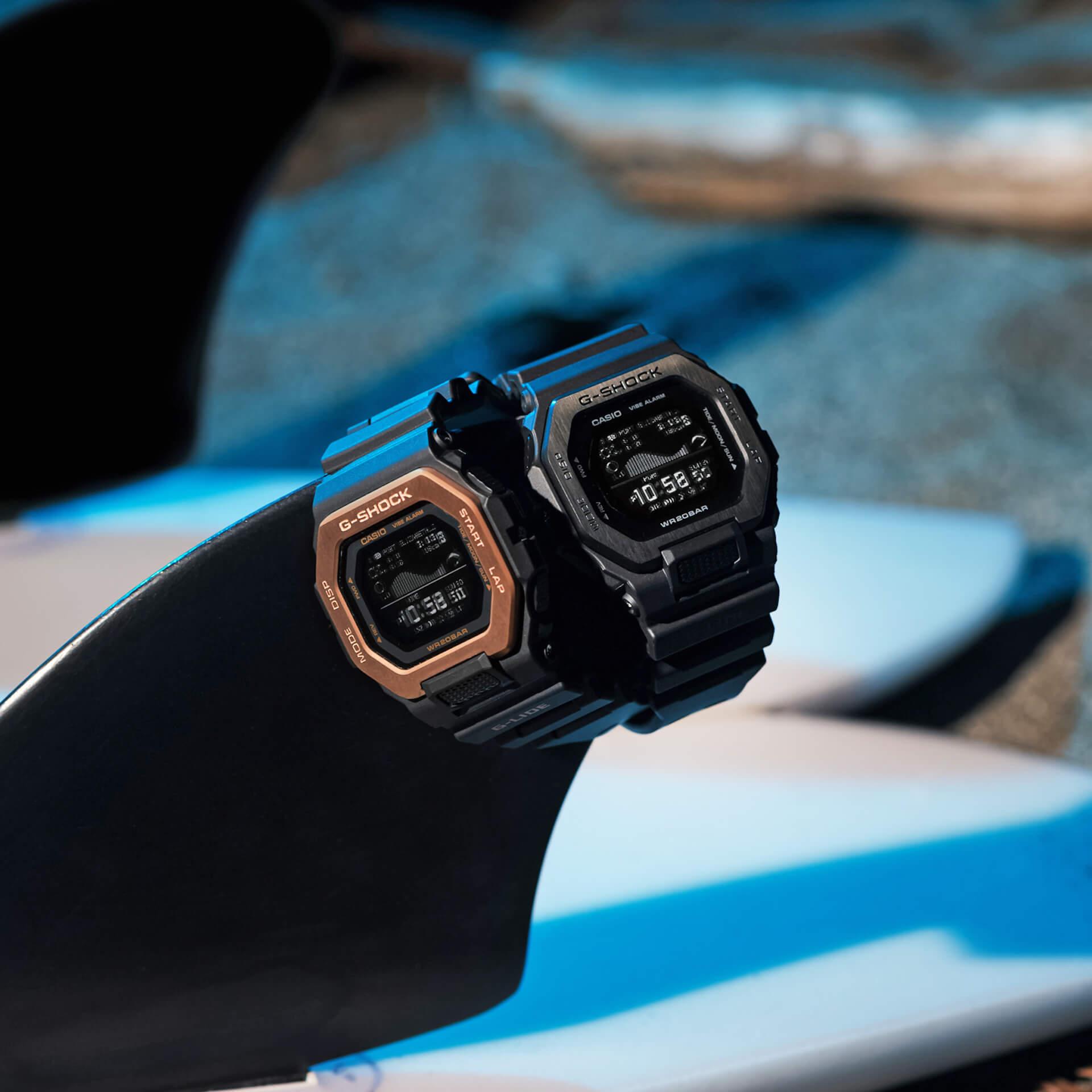 サーファーからの支持も得るG-SHOCK「G-LIDE」にナイトサーフィン向けの新色が登場!スマホと連携可能な人気モデル tech210415_gshock_glide_1