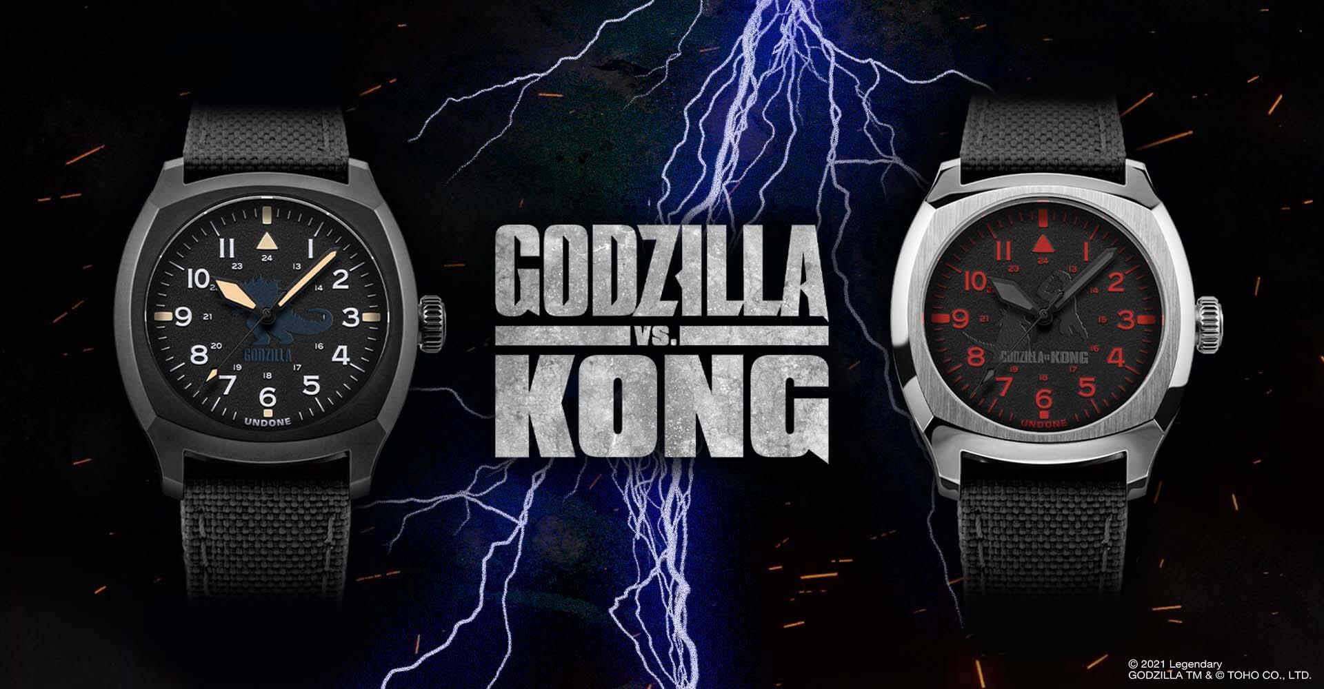 ゴジラとキングコングが腕時計に!UNDONEと『ゴジラvsコング』のコラボウォッチ2モデルが登場 tech210520_undone_godzilla_2