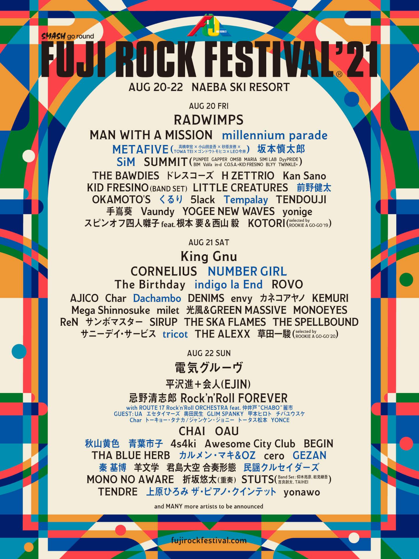 フジロック'21の第2弾ラインナップが解禁!millennium parade、GEZAN、NUMBER GIRL、坂本慎太郎ら18組 music210521_fujirockfestival21_1