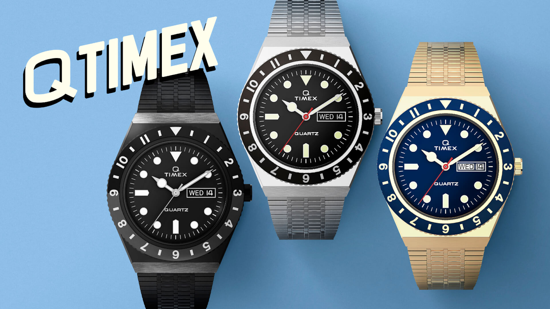 発売わずか30分で完売したTIMEX『Q TIMEX』シリーズが待望の復活!モノクローム、ブラックベゼル、イエローゴールド3種が登場 life210521_timex_qtimex_1