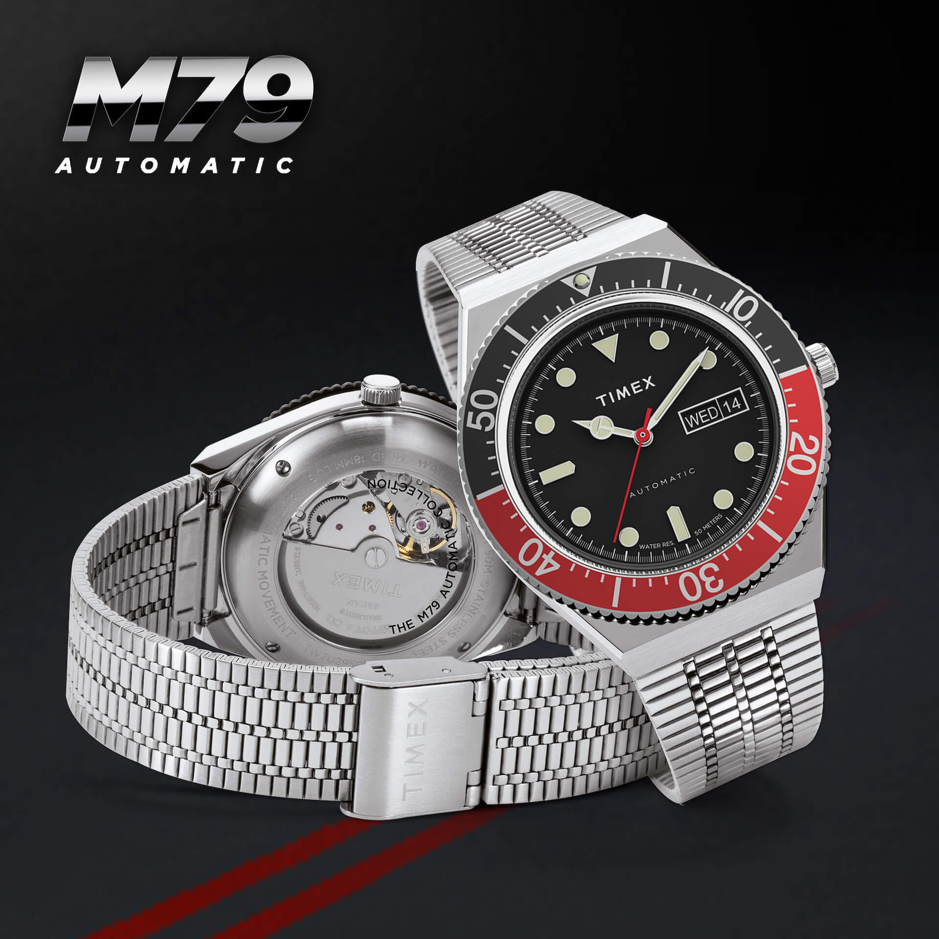 TIMEXの「Q TIMEX」シリーズ『M79』に新色ブラック×レッドカラーが登場!本日予約受付開始 tech210528_qtimex_1