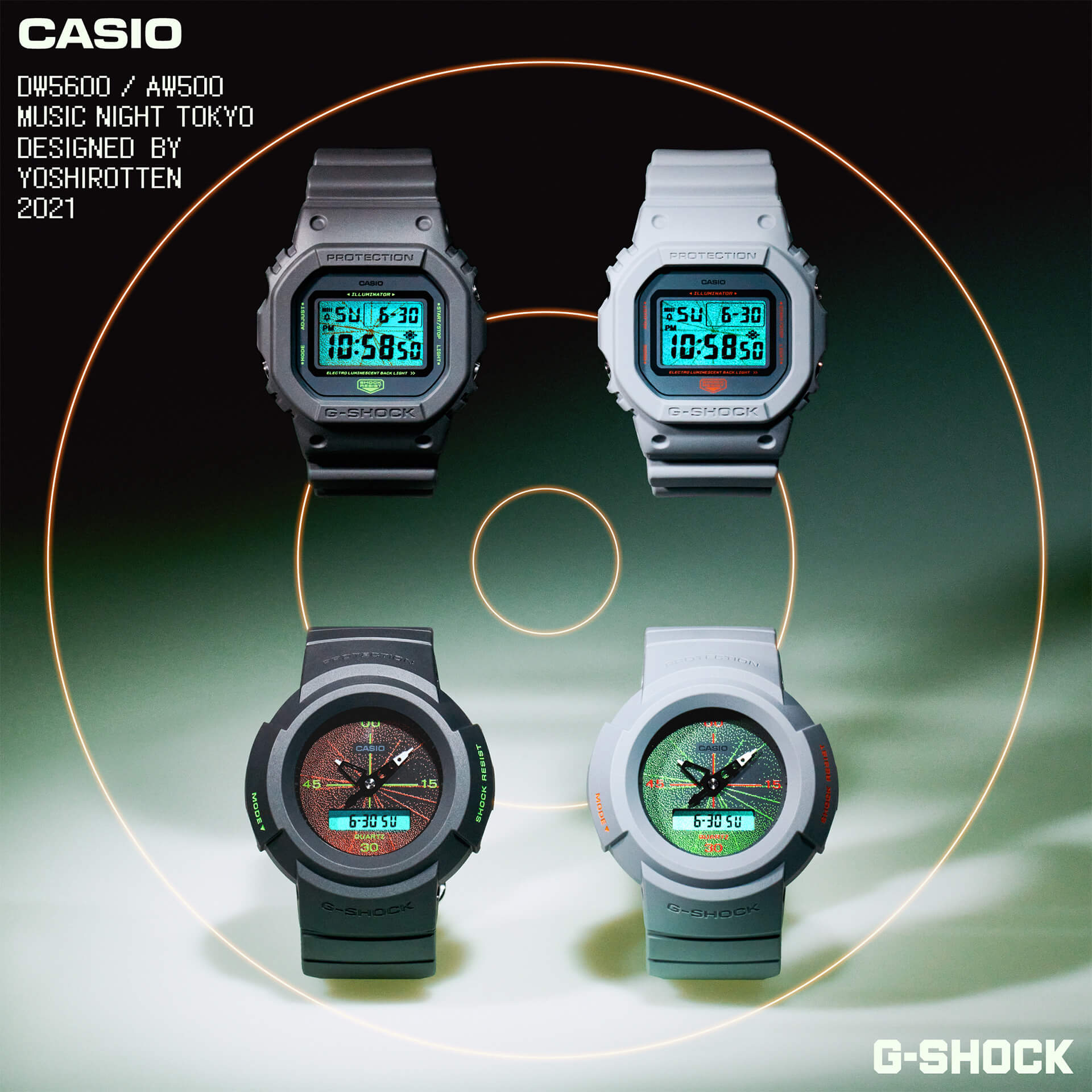 G-SHOCKとYOSHIROTTENのコラボウォッチが発売決定!DW-5600とAW-500をベースにした2モデルが登場 tech210602_gshock_yoshirotten_3