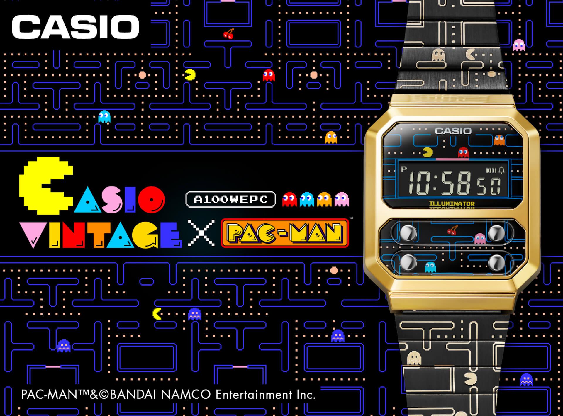 カシオと『パックマン』のコラボデジタルウオッチ『A100WEPC』が発売決定!「F-100」がベースのエクスクルーシブモデル tech210720_casio_pacman_5