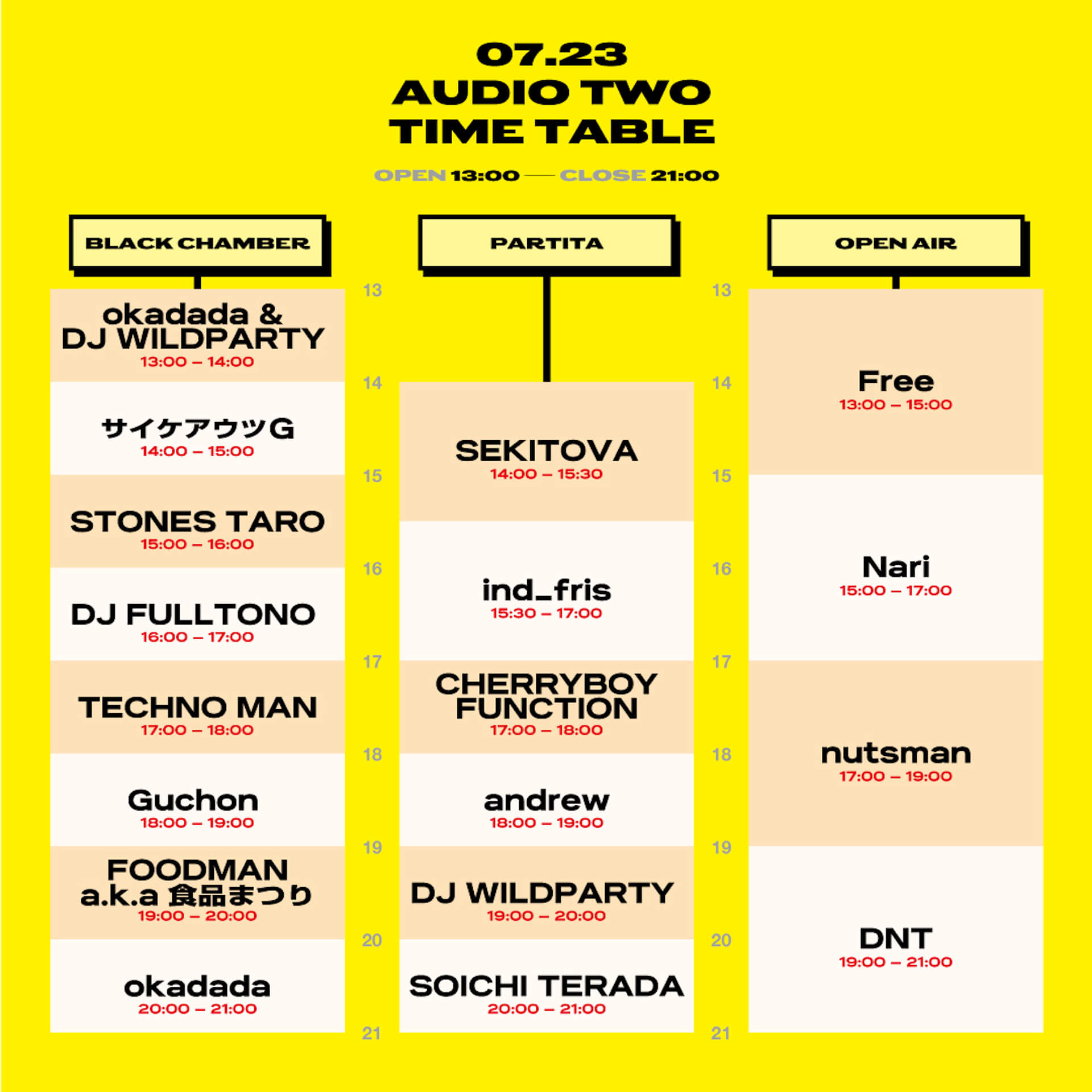 CIRCUS OSAKA9周年番外編<AUDIO TWO>のタイムテーブル&アフターパーティーが発表! music210720_circusosaka_audiotwo_1