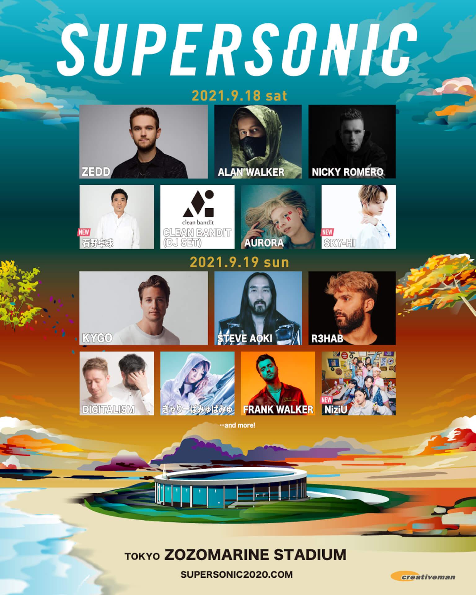 来月開催<SUPERSONIC>に石野卓球、NiziU、SKY-HIが出演決定!追加ラインナップ発表 music210805_supersonic_main