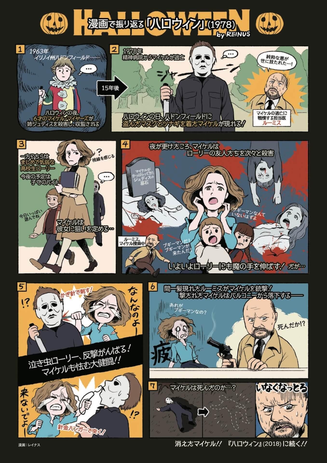 恐怖の『ハロウィン KILLS』公開を前にかわいい&わかりやすい漫画でこれまでをおさらい!レイナスによる漫画2種類が解禁 film210917_halloween_kills_1