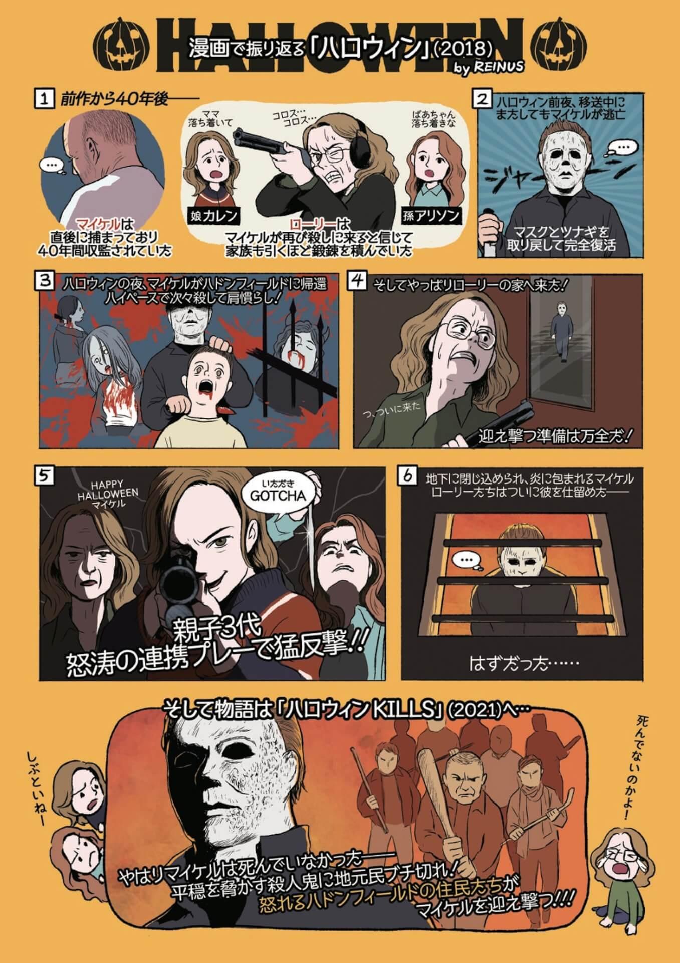恐怖の『ハロウィン KILLS』公開を前にかわいい&わかりやすい漫画でこれまでをおさらい!レイナスによる漫画2種類が解禁 film210917_halloween_kills_2