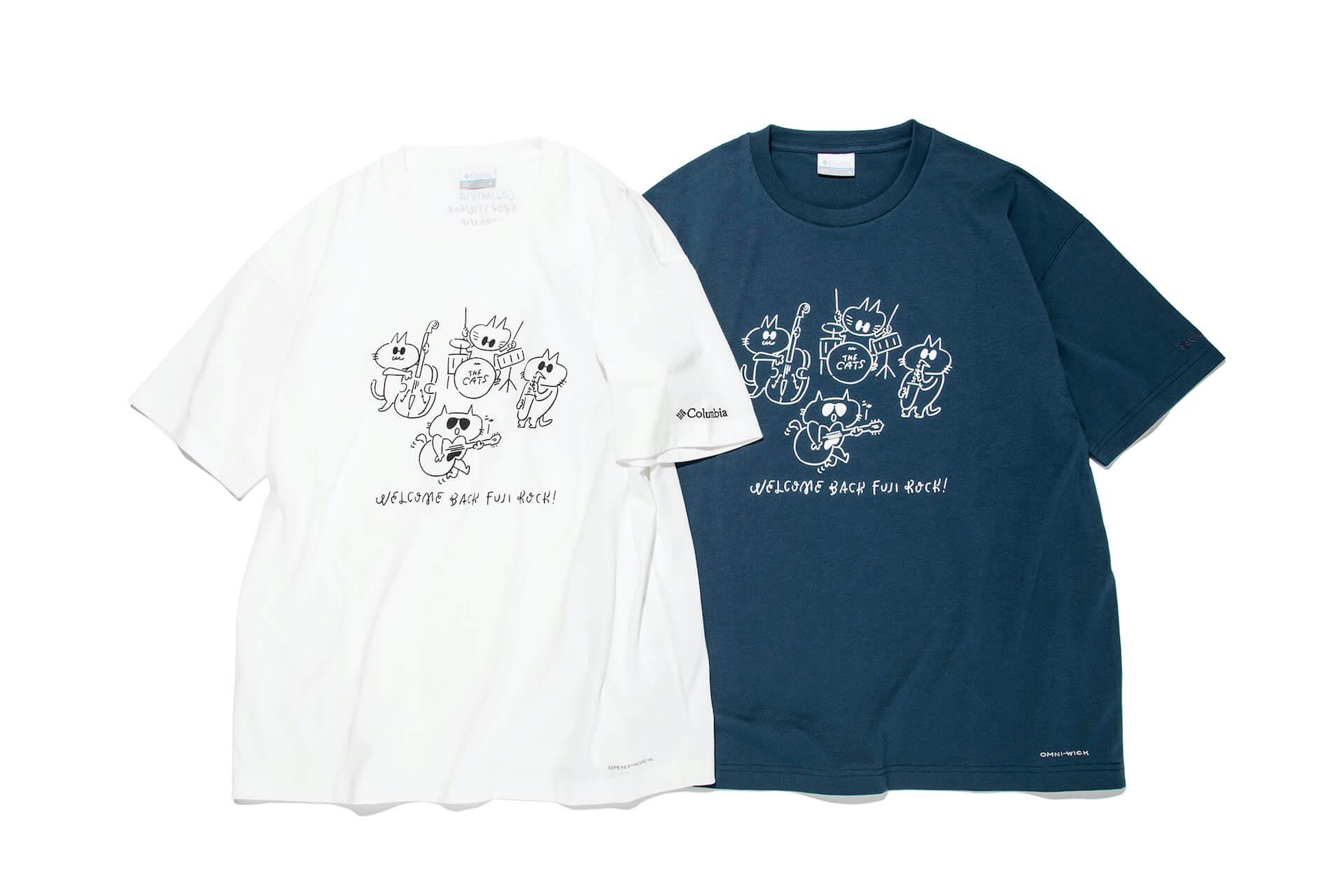 フジロック'21×ColumbiaコラボレーションTシャツが発売決定!長場雄「THE CATS」のイラストに注目 fation210611_FUJIROCK-nekoTshirt4