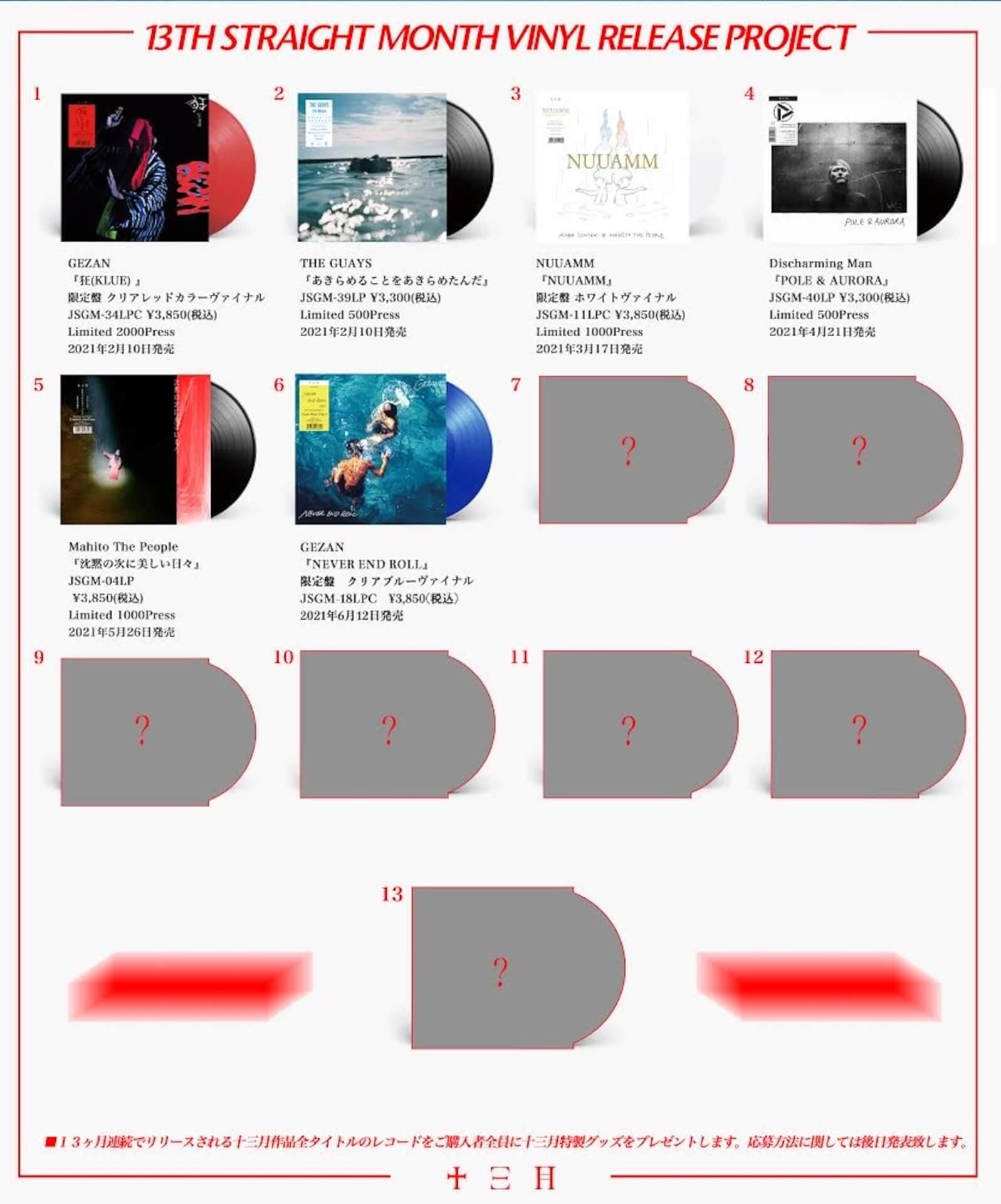 〈十三月〉作品のレコード盤が13ヶ月連続リリース第6弾にGEZANの3rdアルバム『NEVER END ROLL』が登場! music210408_jusangatsu-210408_2